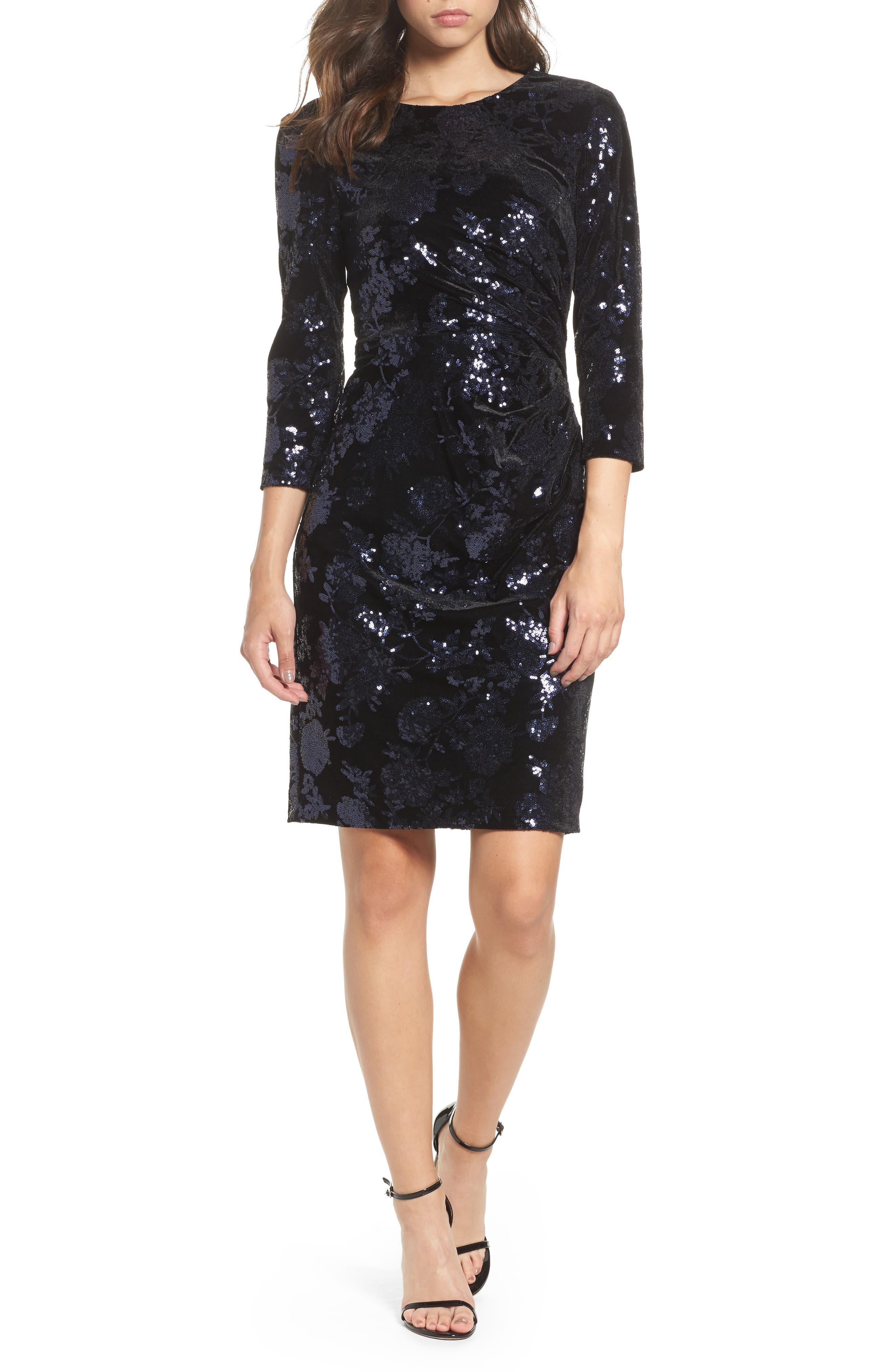 Sequin Embellished Sheath Dress,                         Main,                         color, Black/ Blue