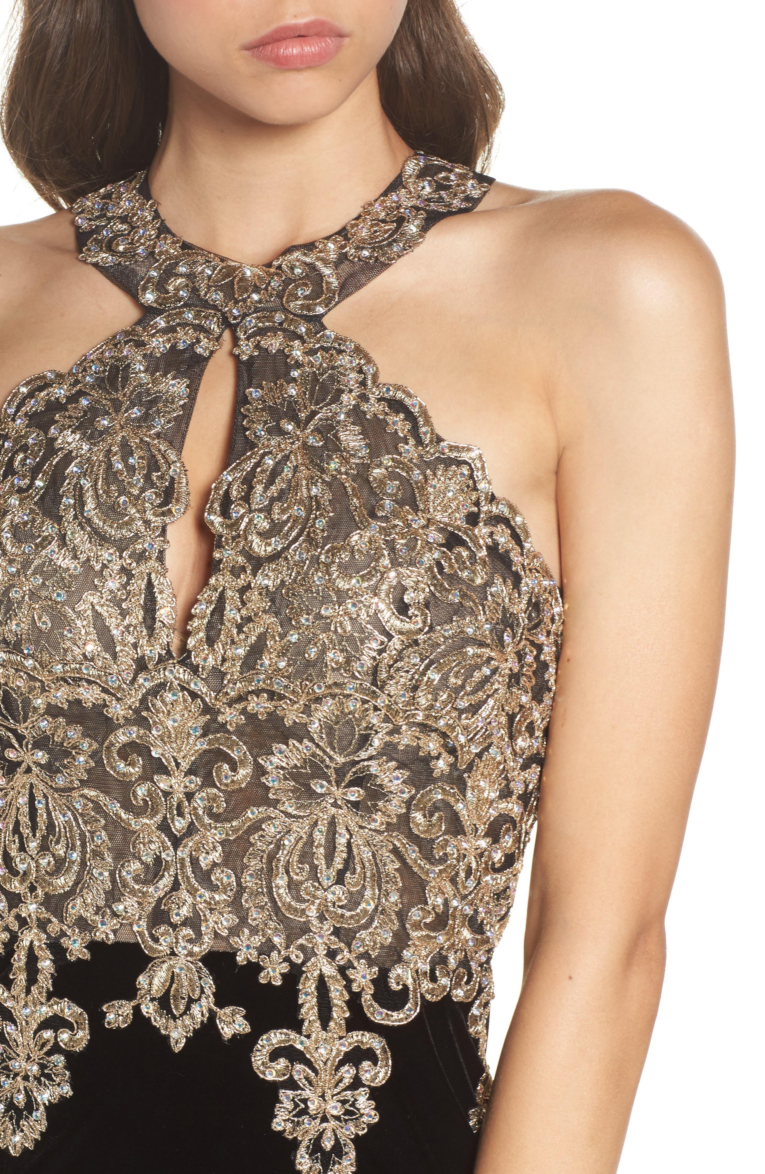 Alternate Image 4  - Xscape Crystal Embroidered Velvet Gown (Regular & Petite)