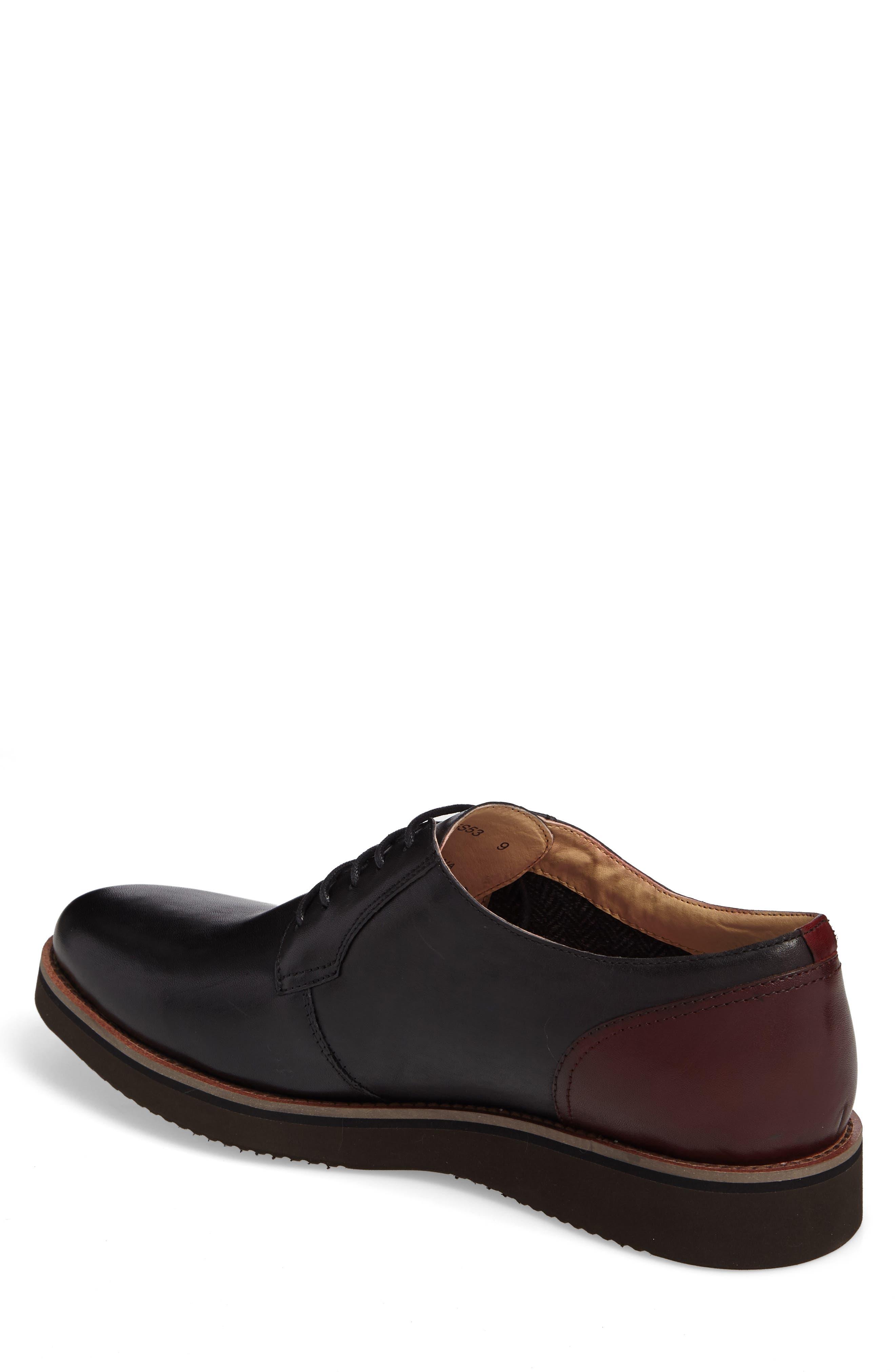 Saxon Plain Toe Derby,                             Alternate thumbnail 2, color,                             Black Leather