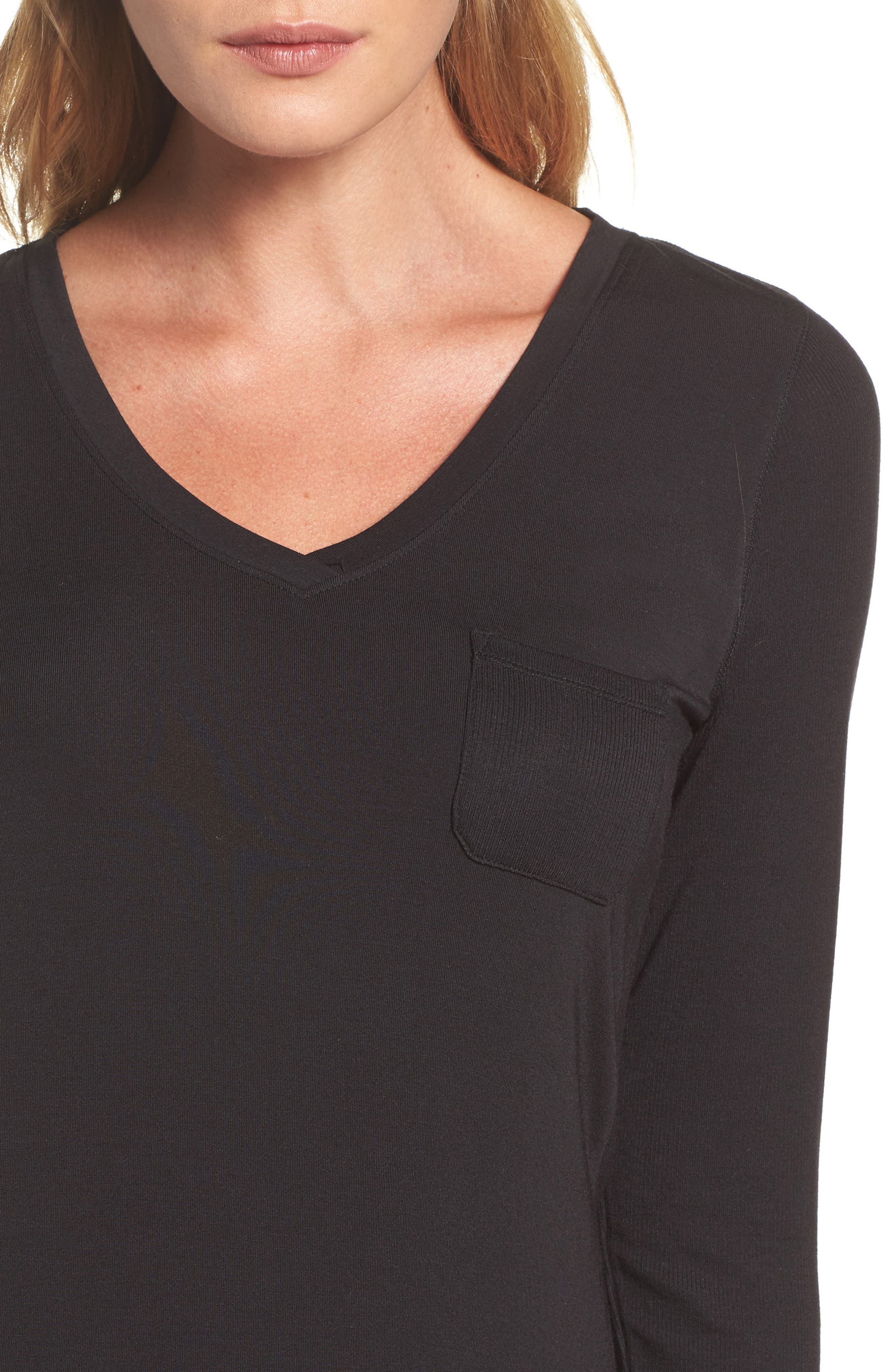 'City Essential' Long Sleeve Tee,                             Alternate thumbnail 4, color,                             Black