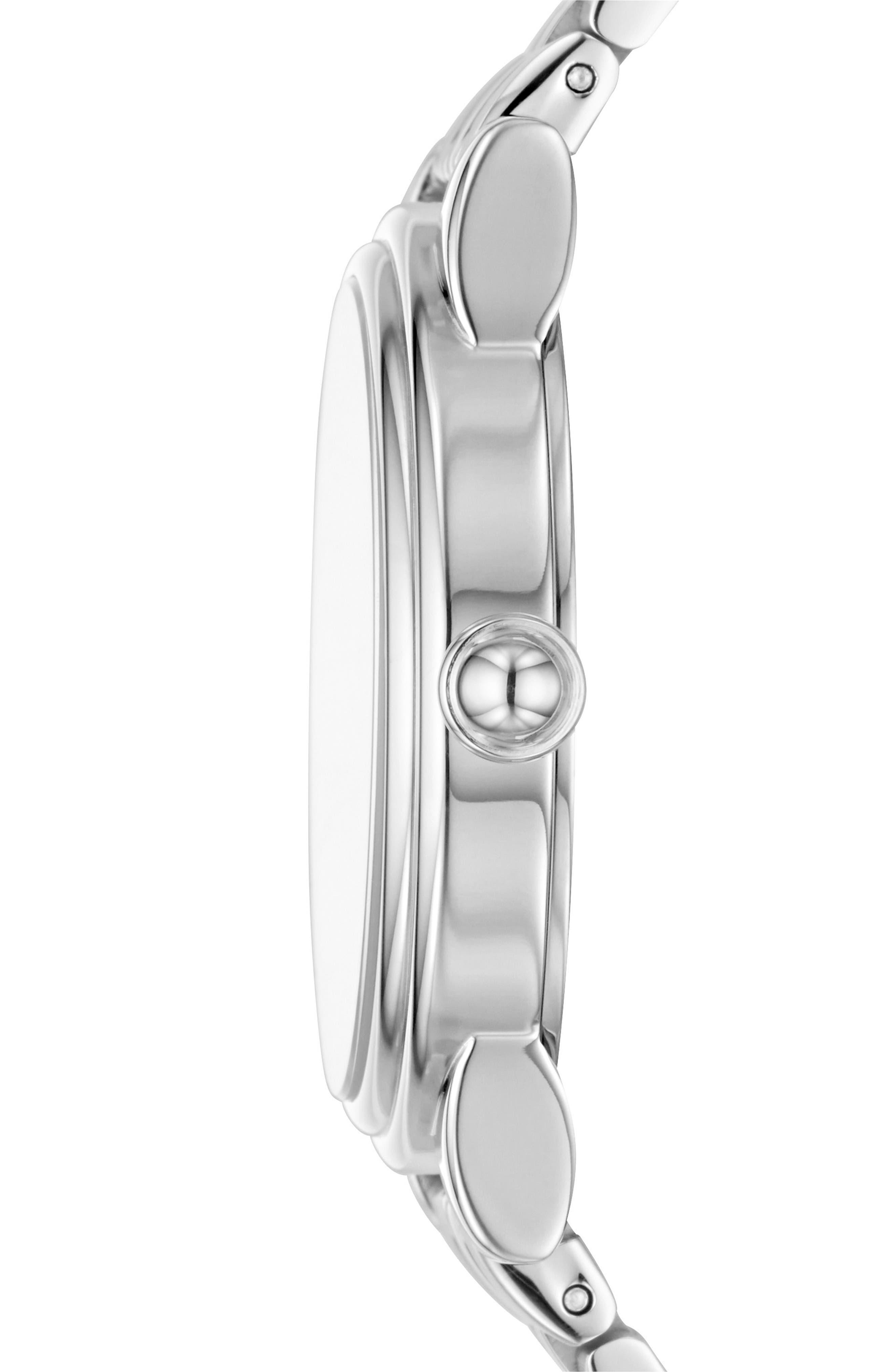 Corie Bracelet Watch, 36mm,                             Alternate thumbnail 2, color,                             Silver/ White/ Silver