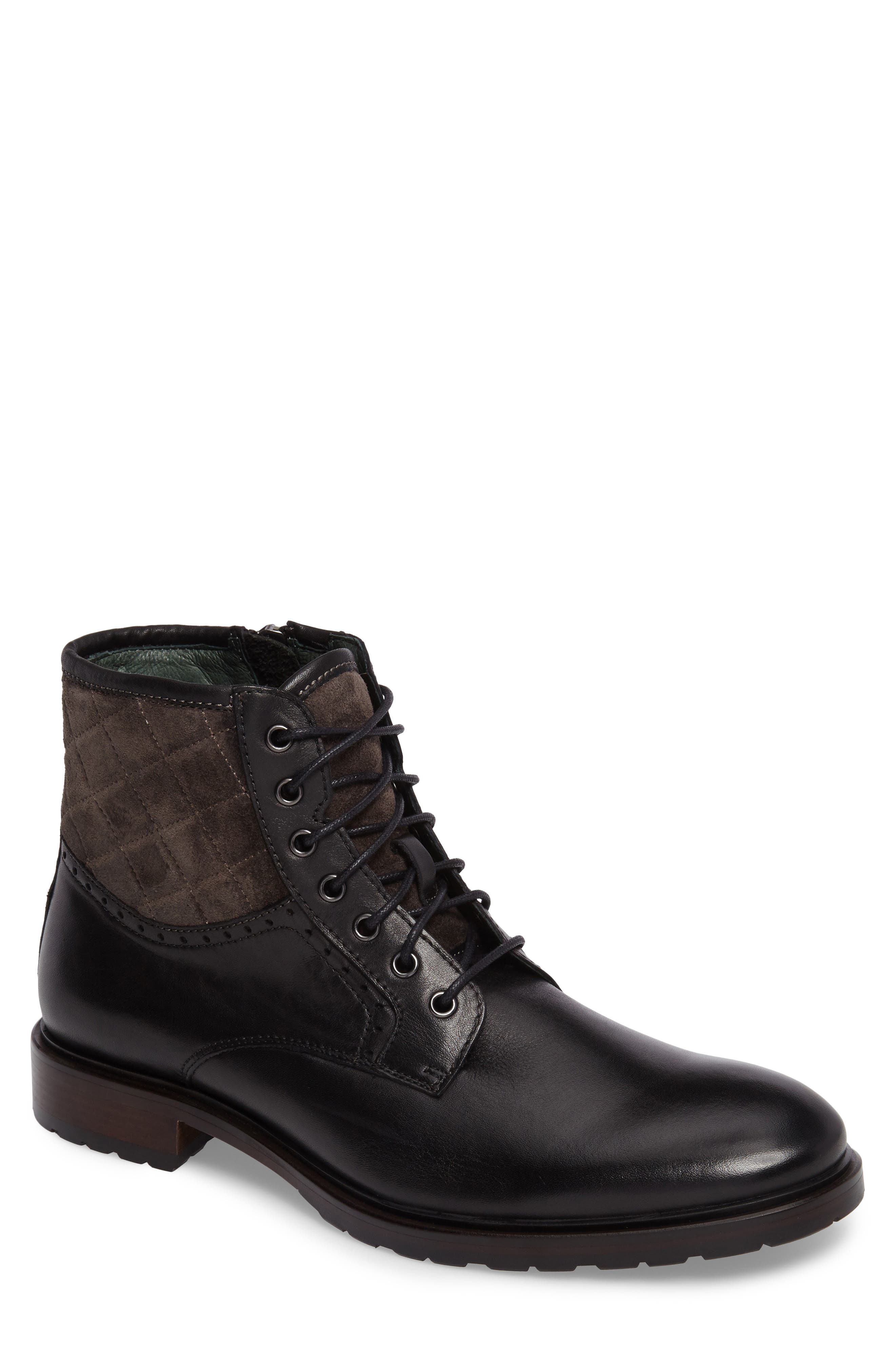 Myles Plain Toe Boot,                         Main,                         color, Black Leather