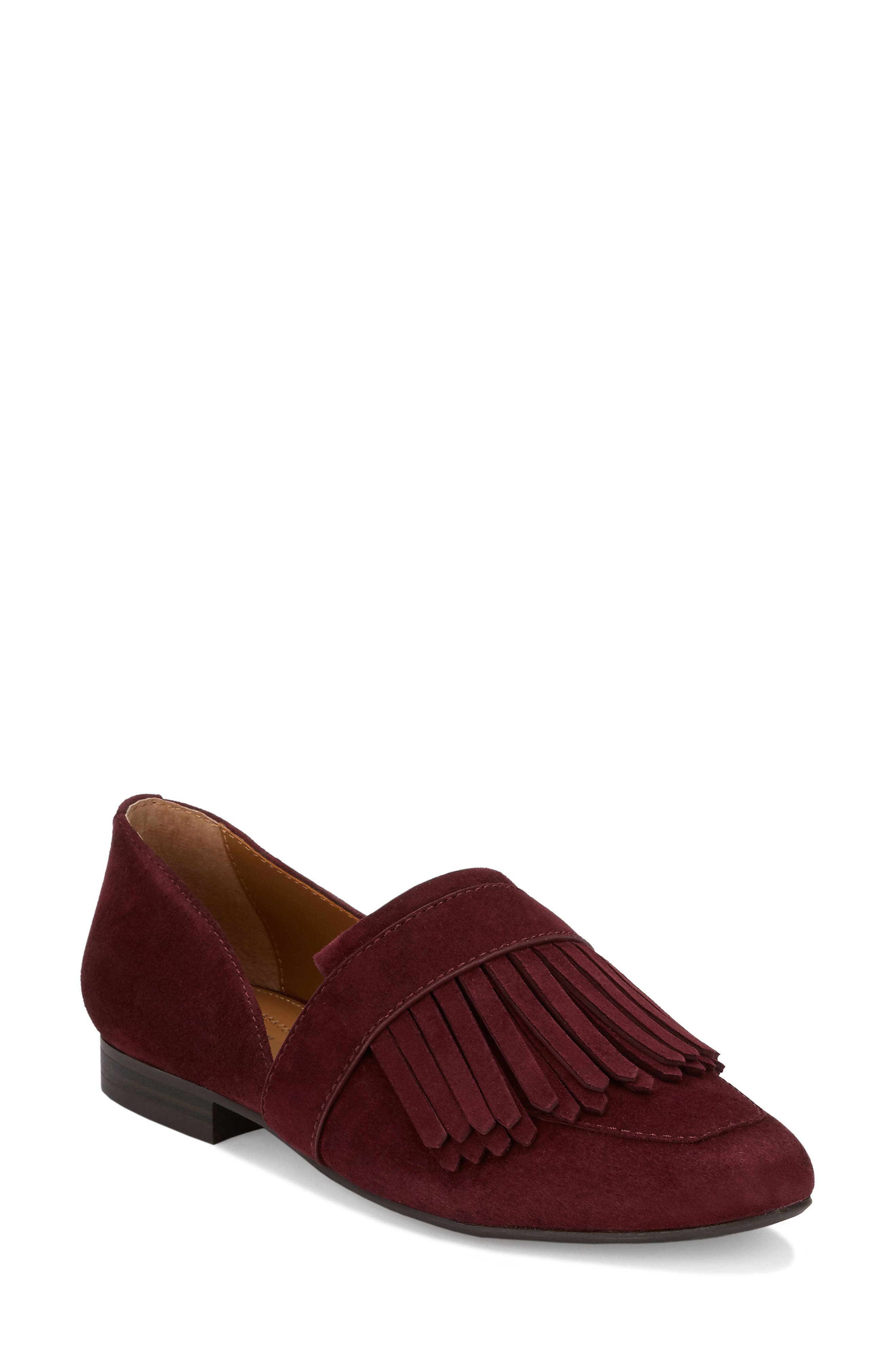 'Harlow' Kiltie Leather Loafer,                         Main,                         color, Wine Suede