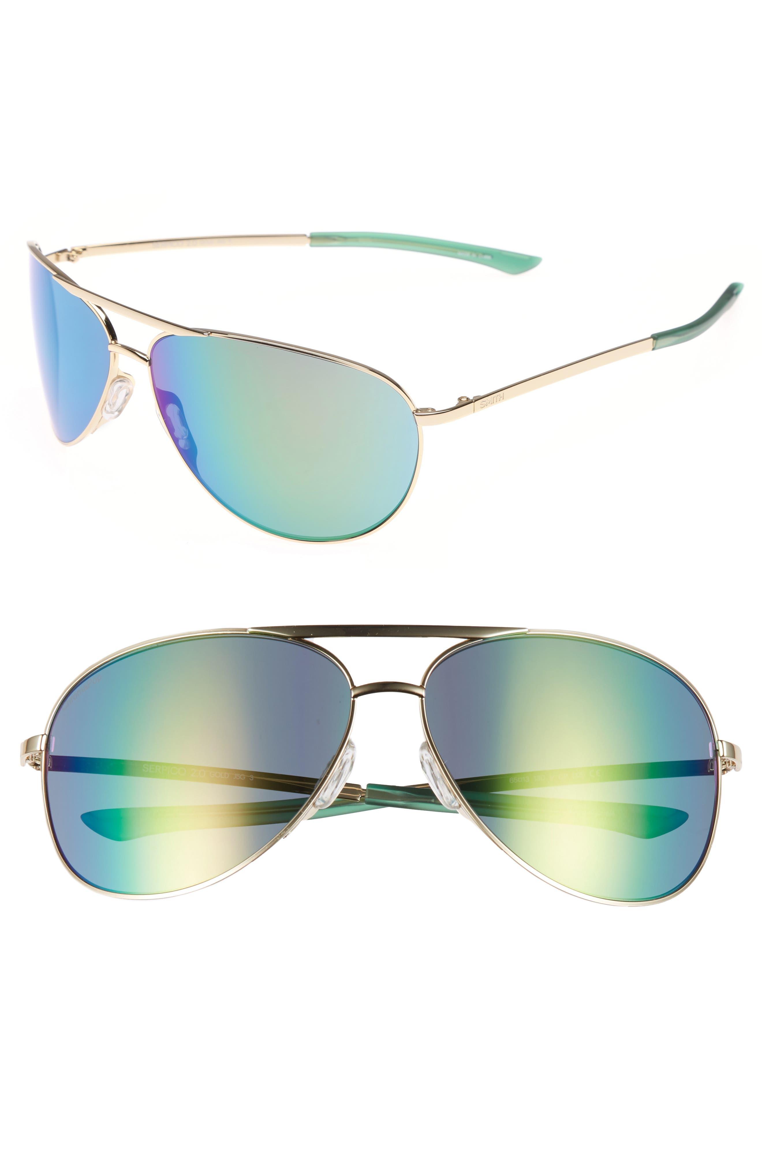 Serpico 2 65mm Mirrored ChromaPop<sup>™</sup> Polarized Aviator Sunglasses,                         Main,                         color, Gold/ Green Mirror