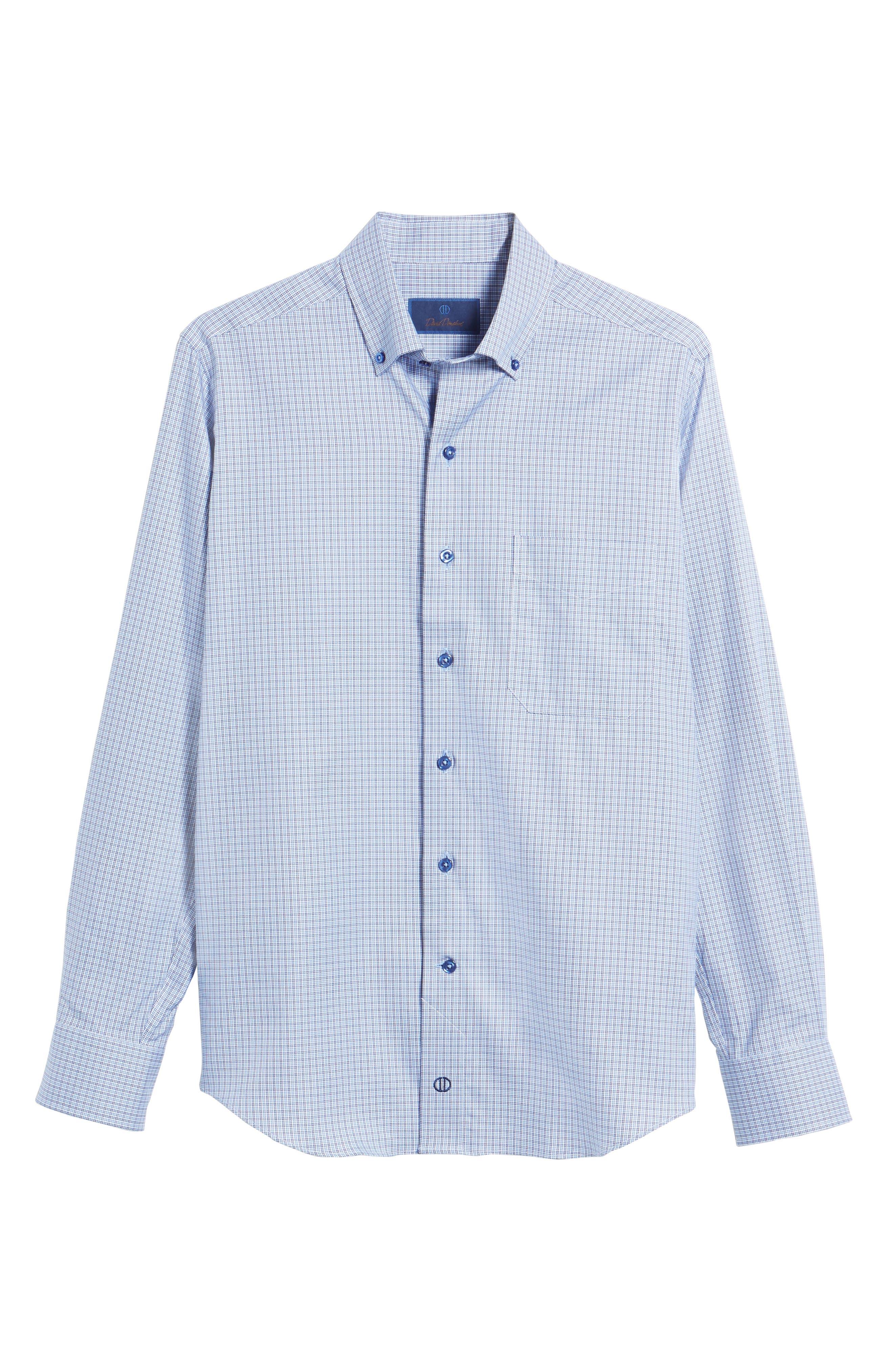 Regular Fit Plaid Sport Shirt,                             Alternate thumbnail 6, color,                             Navy/ Sky