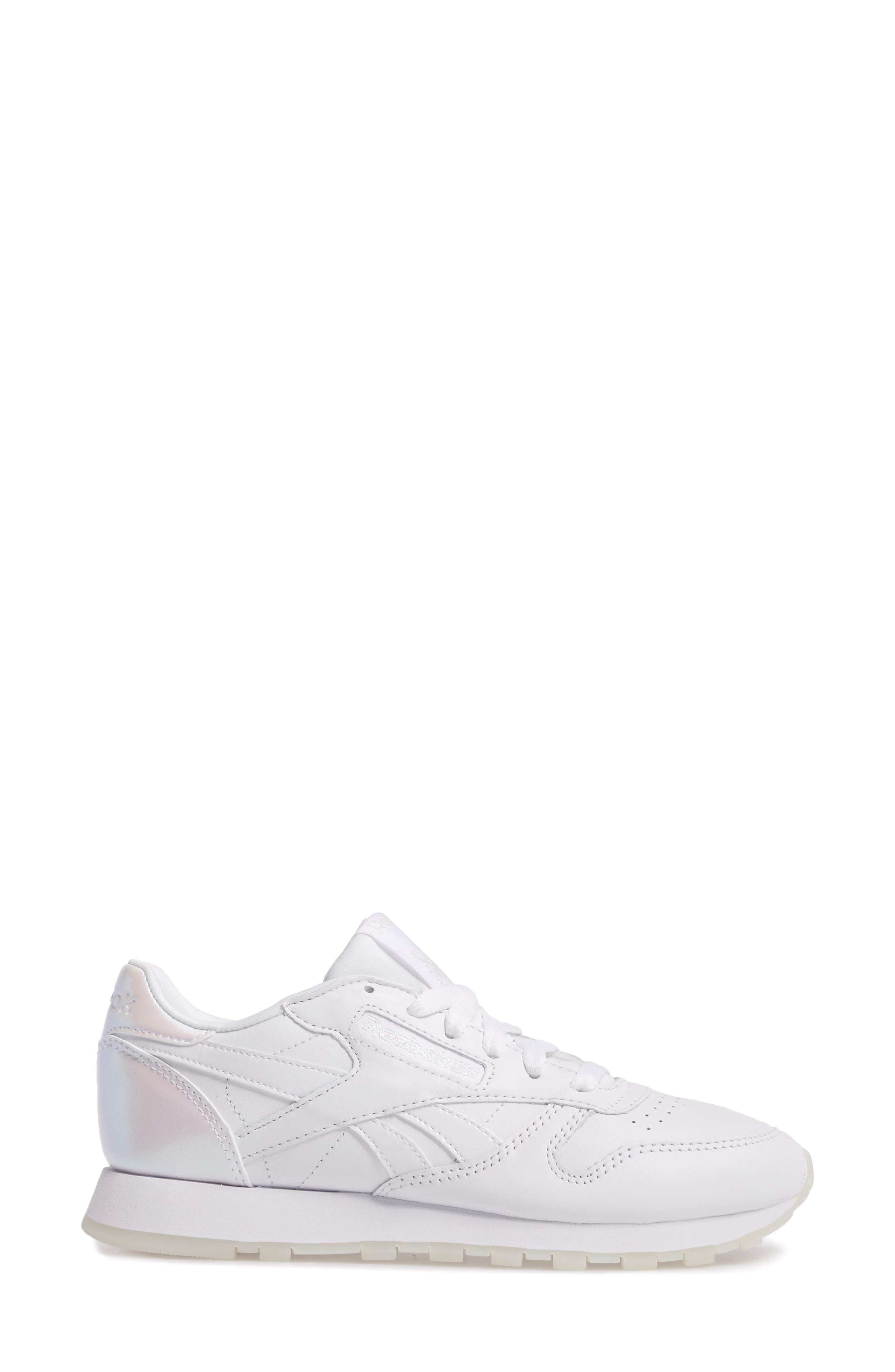 Classic Leather Sneaker,                             Alternate thumbnail 3, color,                             White/ White/ Ice Pearl