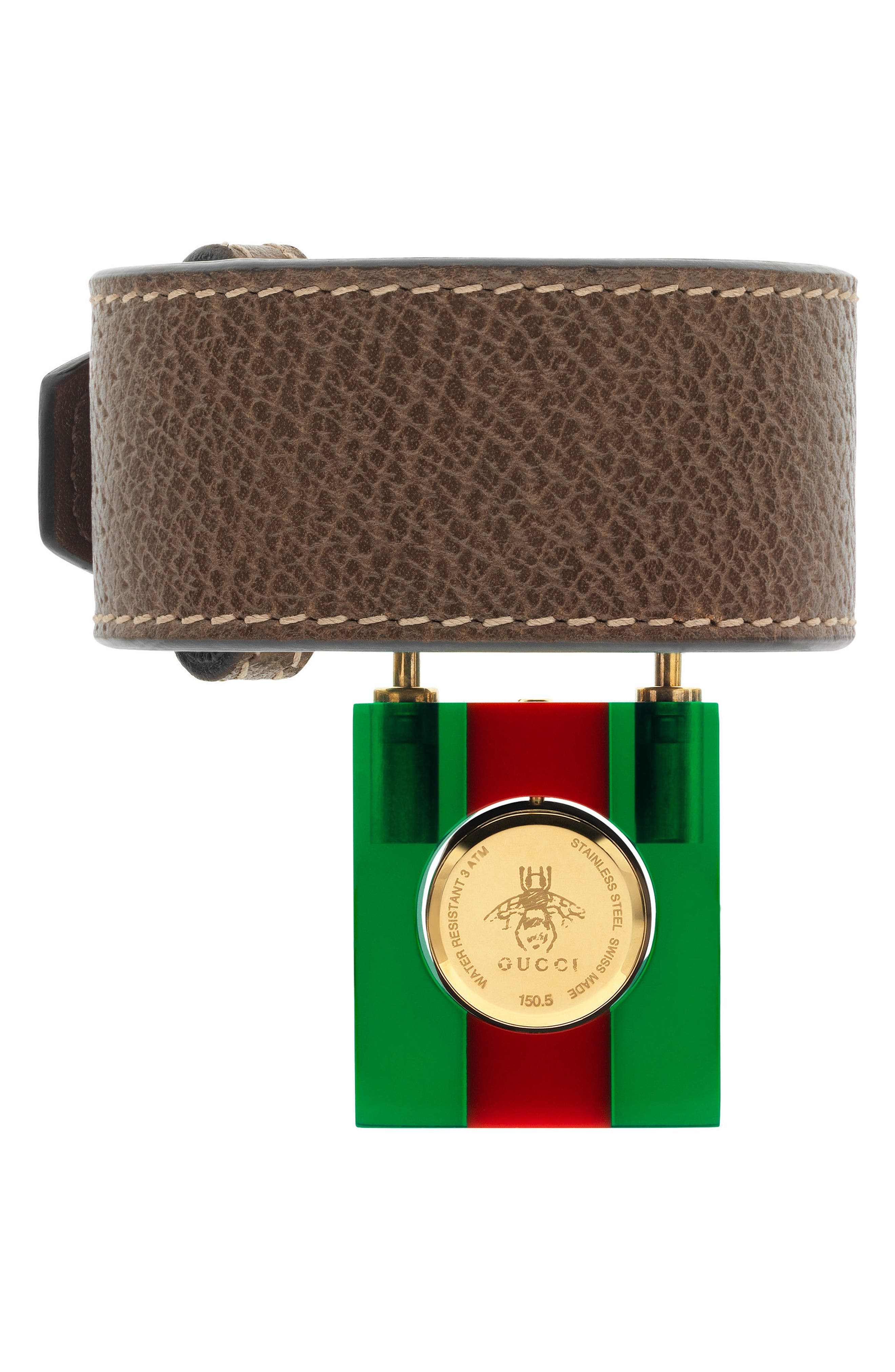 Twirl Small Leather Strap Padlock Watch, 17mm,                             Alternate thumbnail 2, color,                             Green/ Red/ Gold