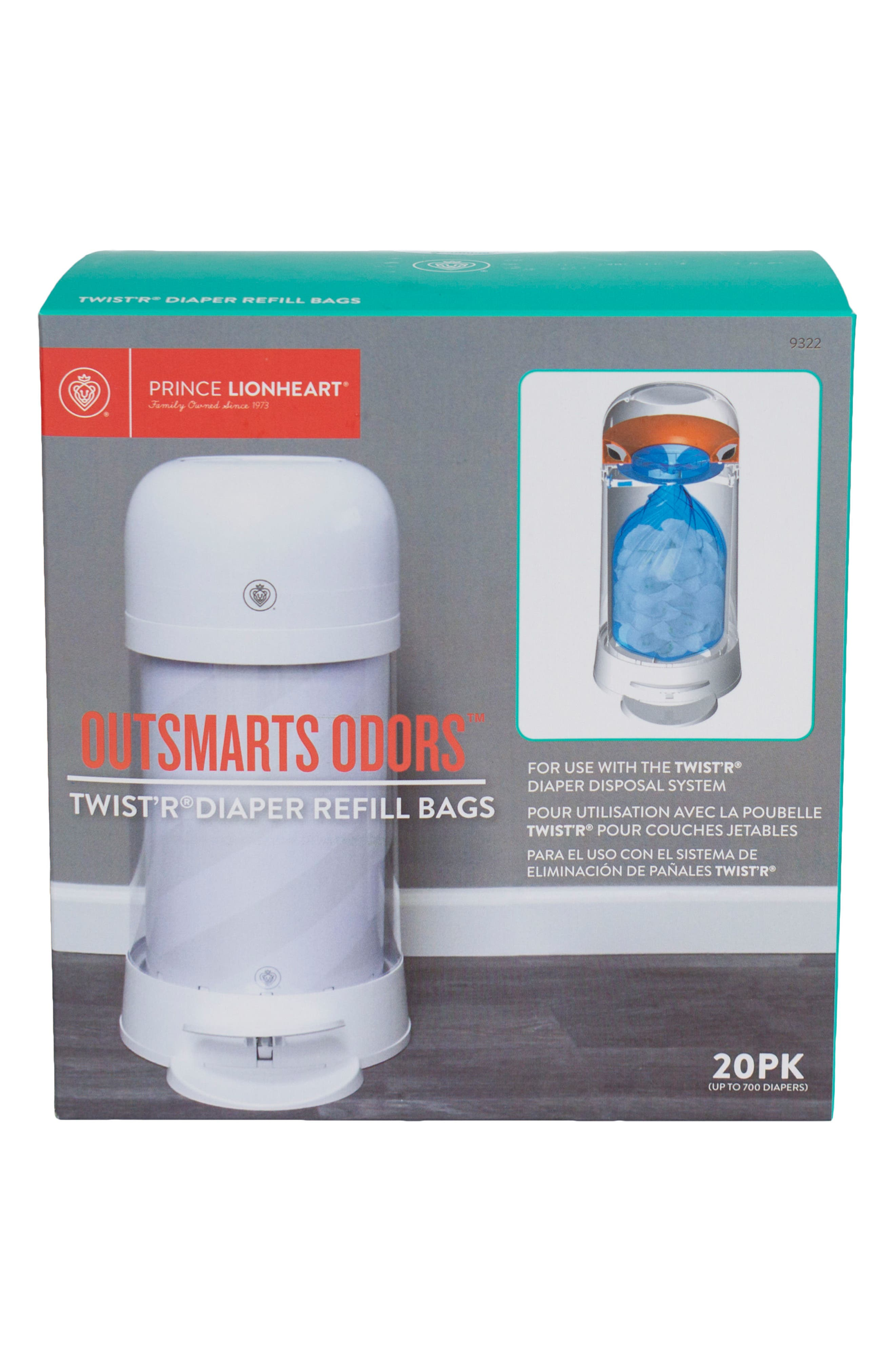 Alternate Image 2  - Prince Lionheart Twist'r Diaper Disposal System Set of 20 Refill Bags