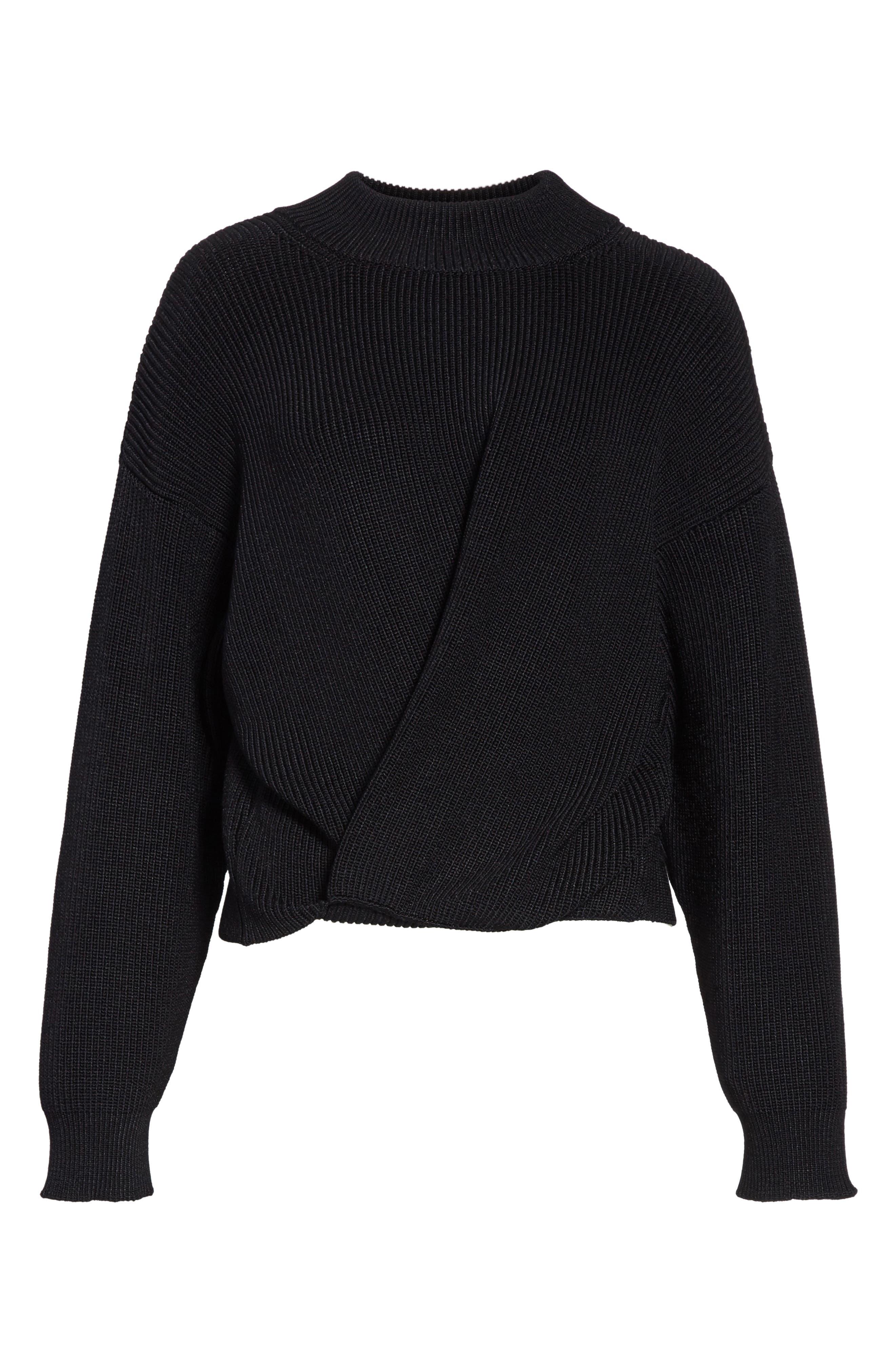 Mock Neck Sweater,                             Alternate thumbnail 7, color,                             Black