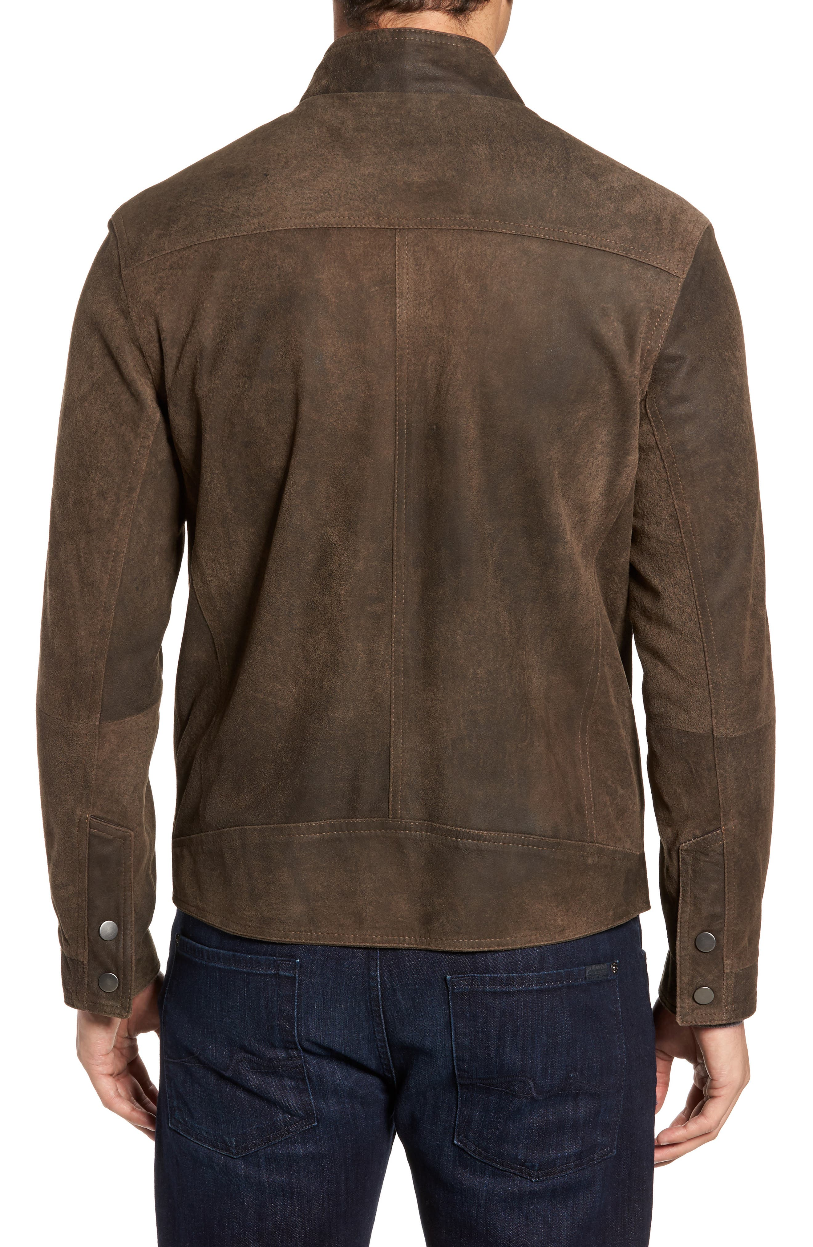 Suede Moto Jacket,                             Alternate thumbnail 2, color,                             Frontier/ Cocoa