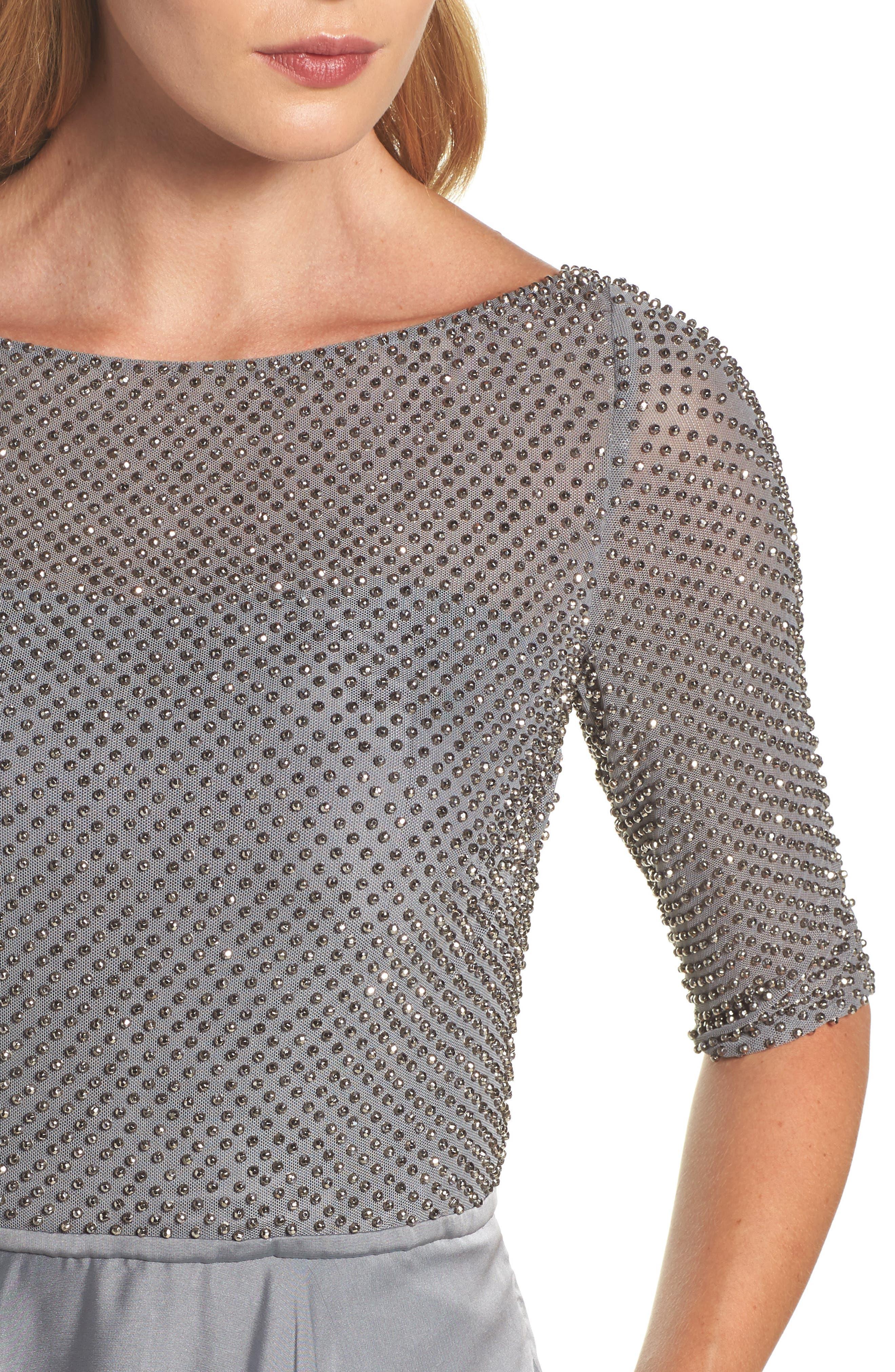 Embellished Bodice Gown,                             Alternate thumbnail 4, color,                             Platinum
