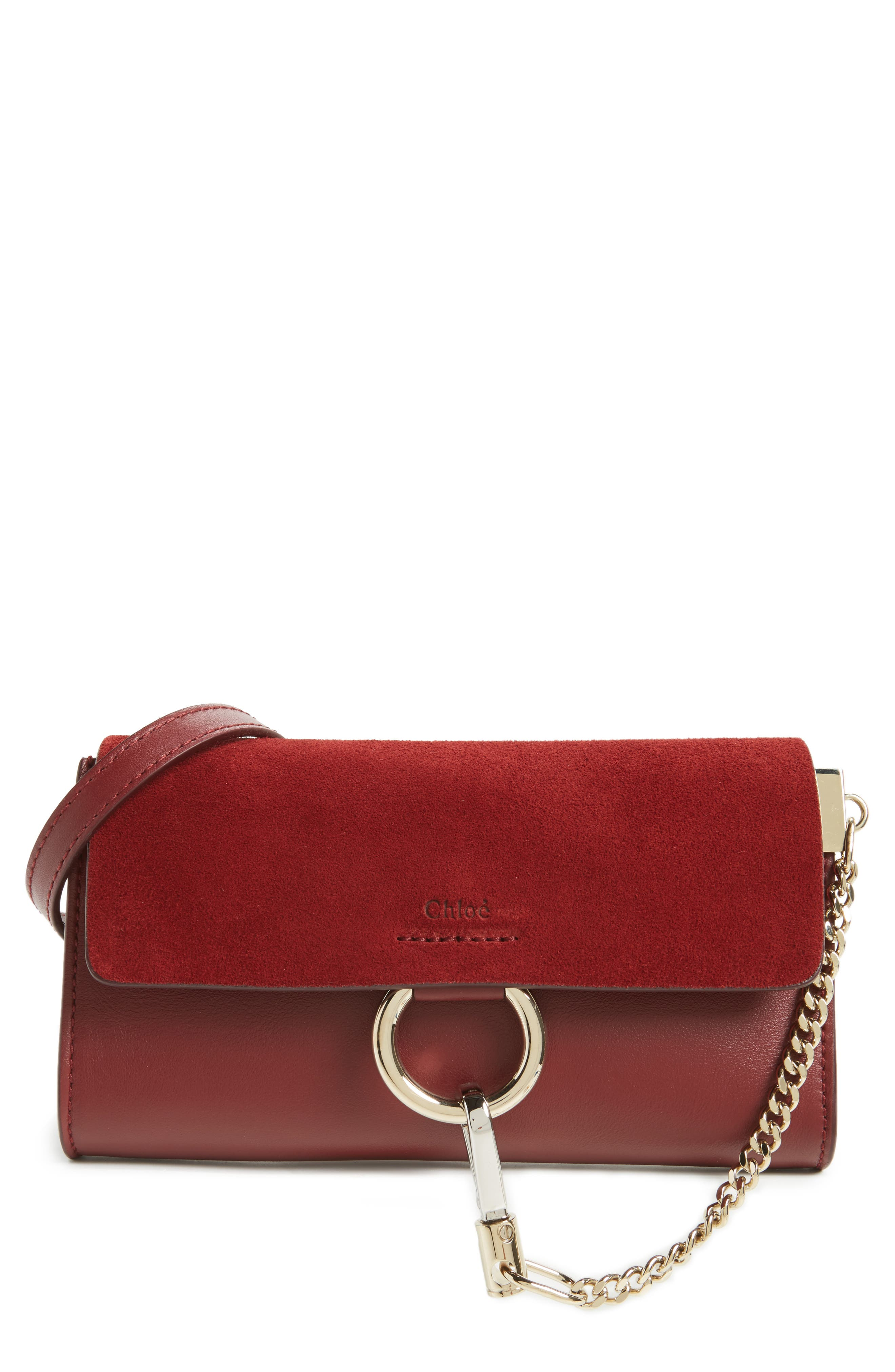 Mini Faye Suede & Leather Wallet on a Chain,                             Main thumbnail 1, color,                             Plum