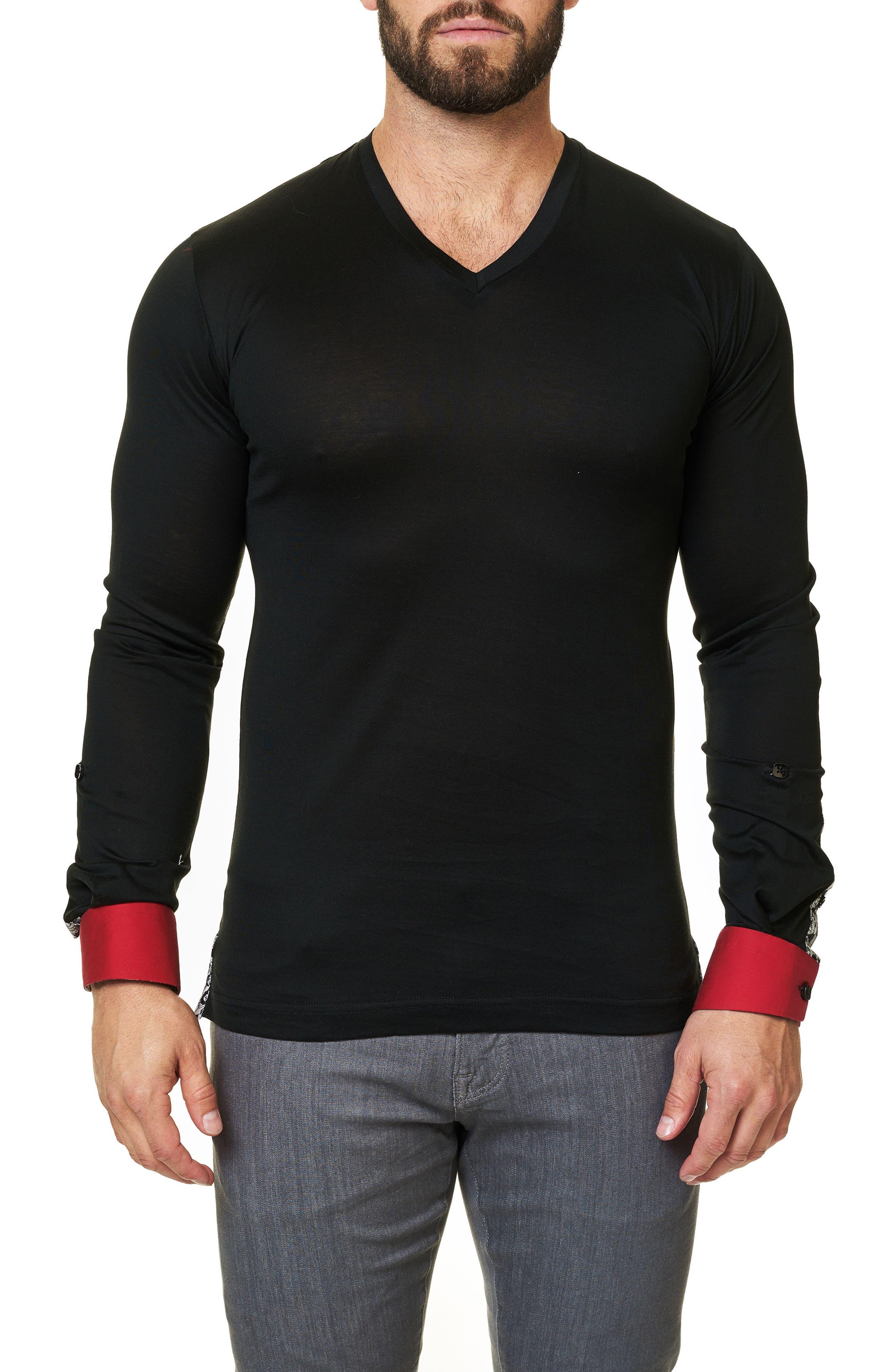 Long Sleeve V-Neck,                         Main,                         color, Solid Black