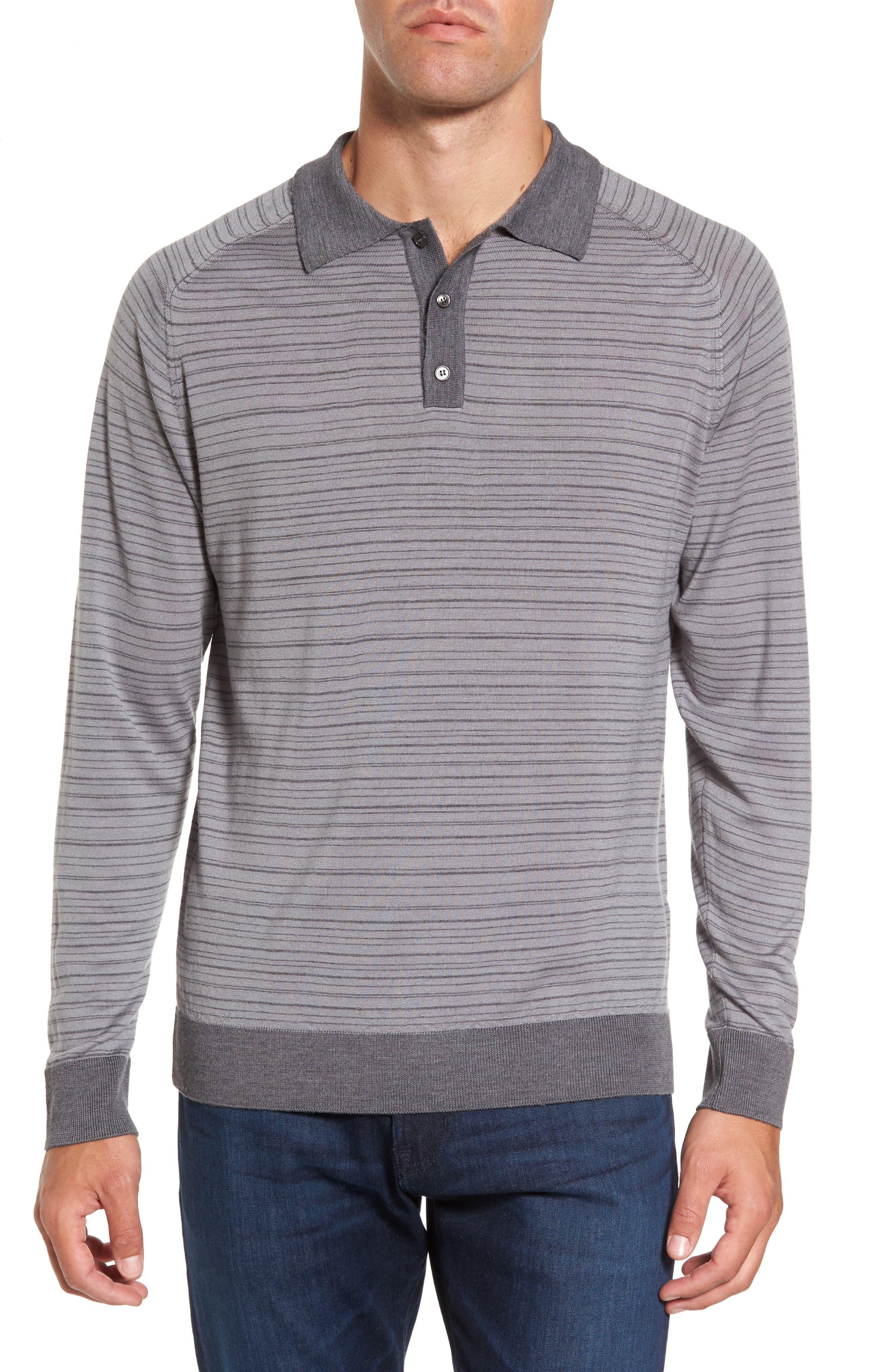 Stripe Merino Wool Polo Sweater,                         Main,                         color, Grey Melange