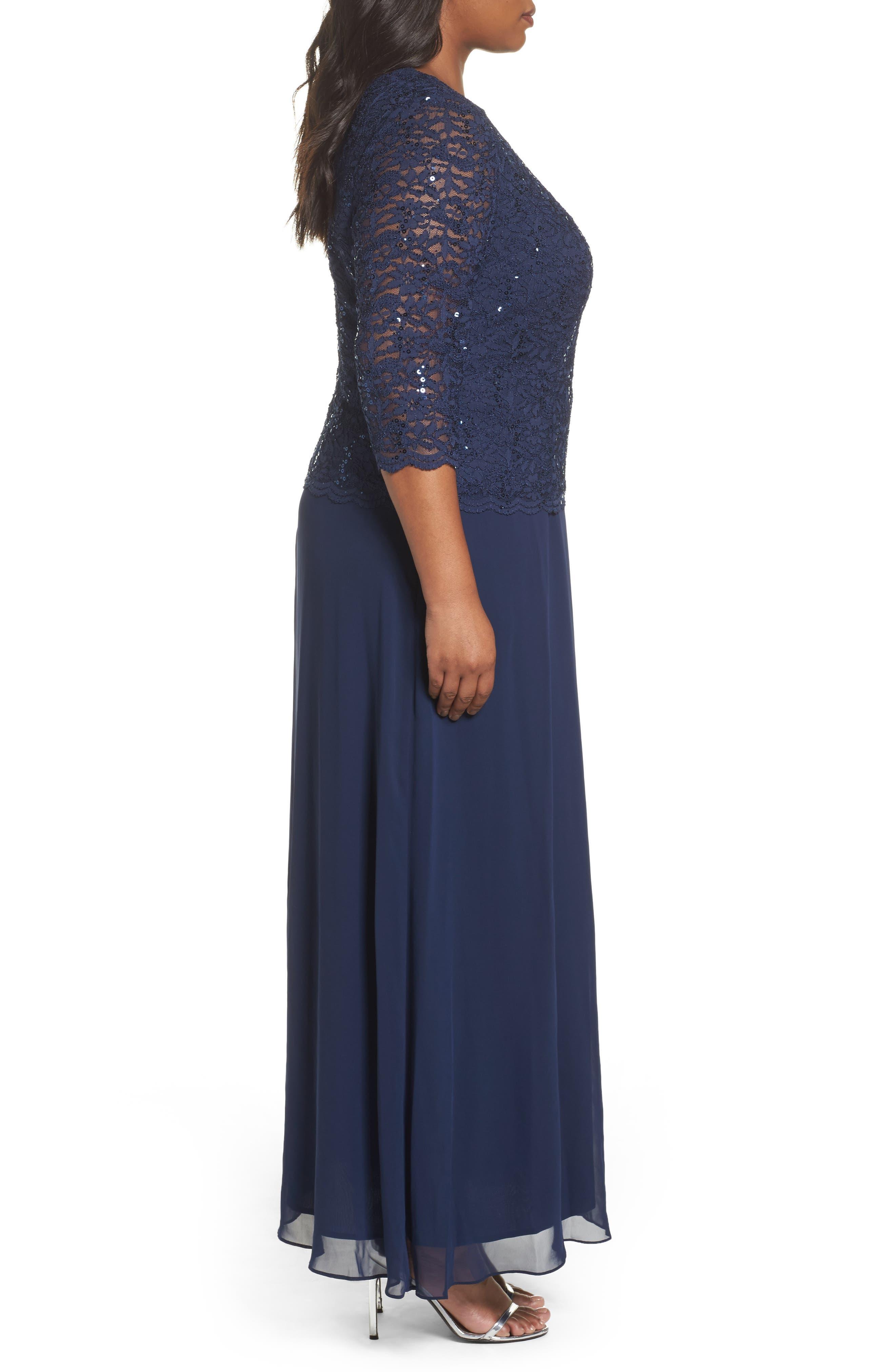 Alternate Image 3  - Alex Evenings Embellished Lace & Chiffon Gown (Plus Size)