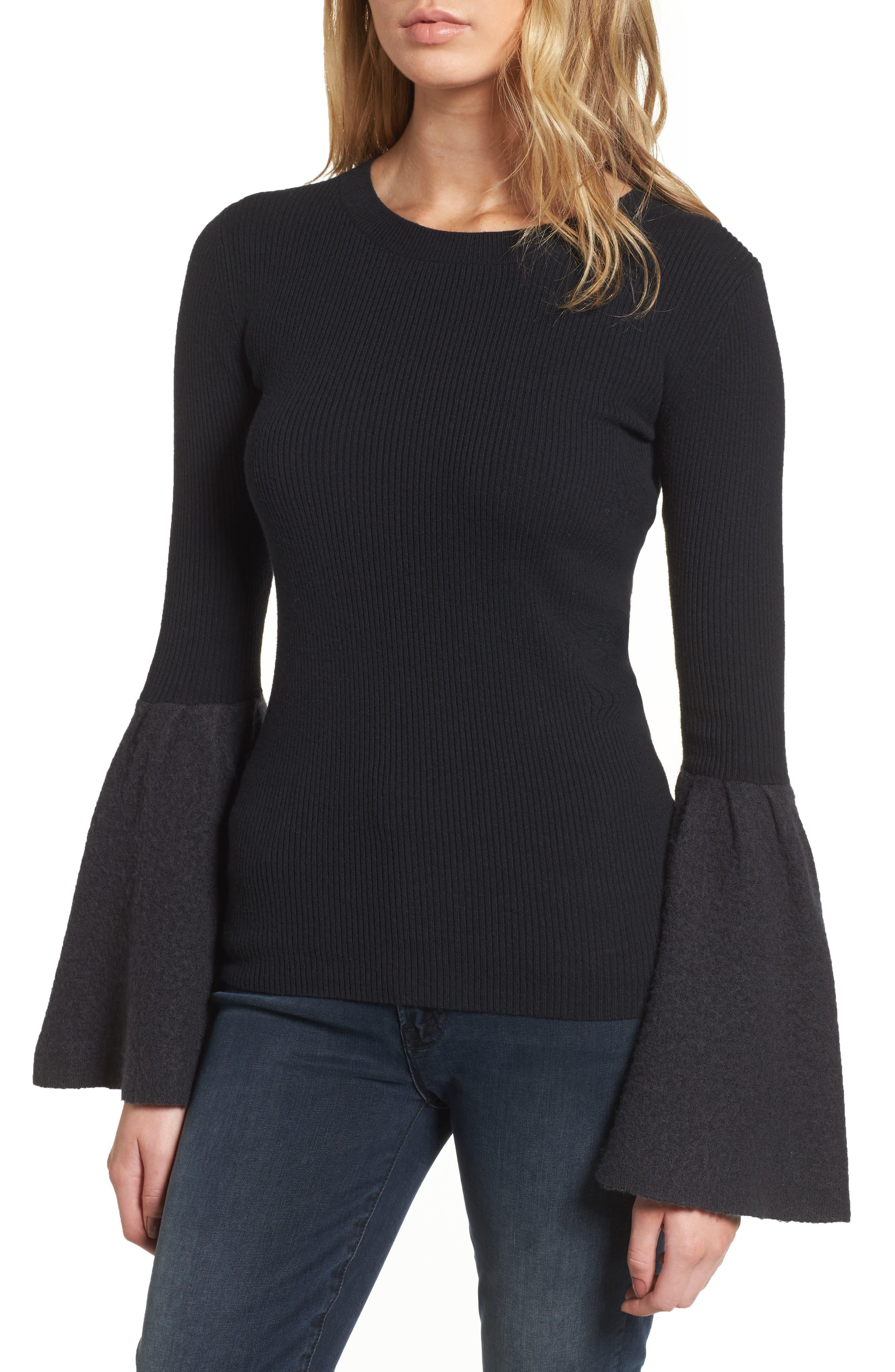 Bell Sleeve Sweater,                             Main thumbnail 1, color,                             Black- Grey Dark Heather Combo