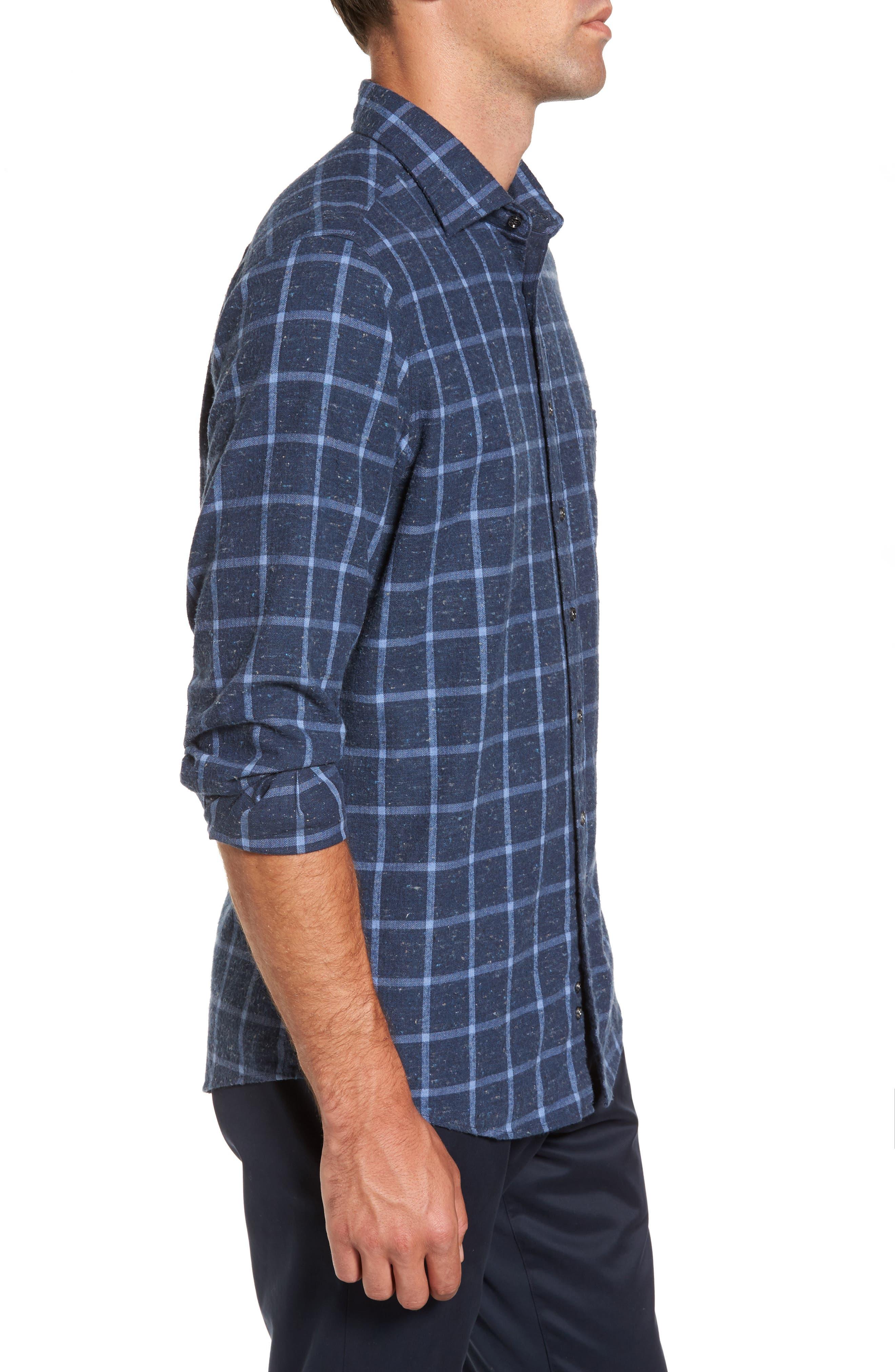 Paringa Sports Fit Windowpane Sport Shirt,                             Alternate thumbnail 3, color,                             Bluestone