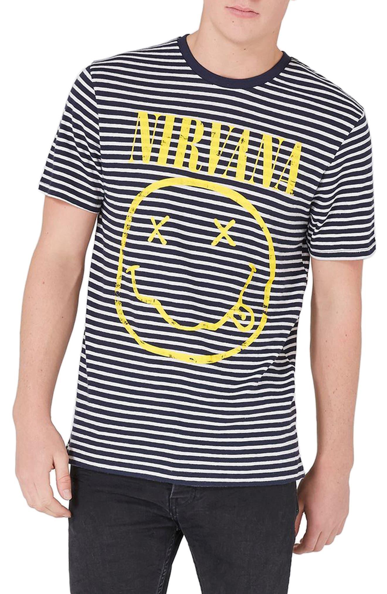 Main Image - Topman Nirvana Stripe T-Shirt