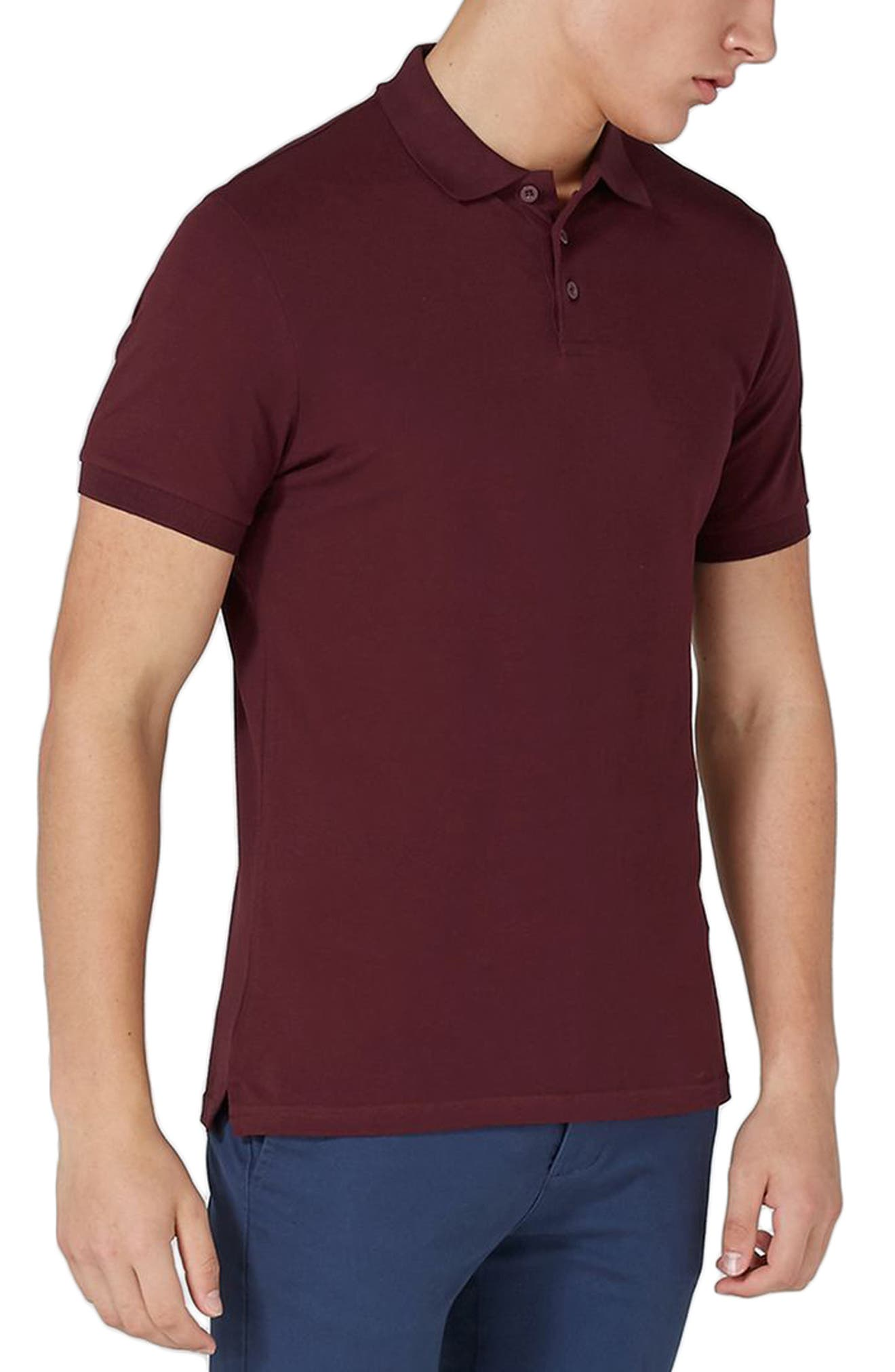 Muscle Fit Polo,                         Main,                         color, Burgundy