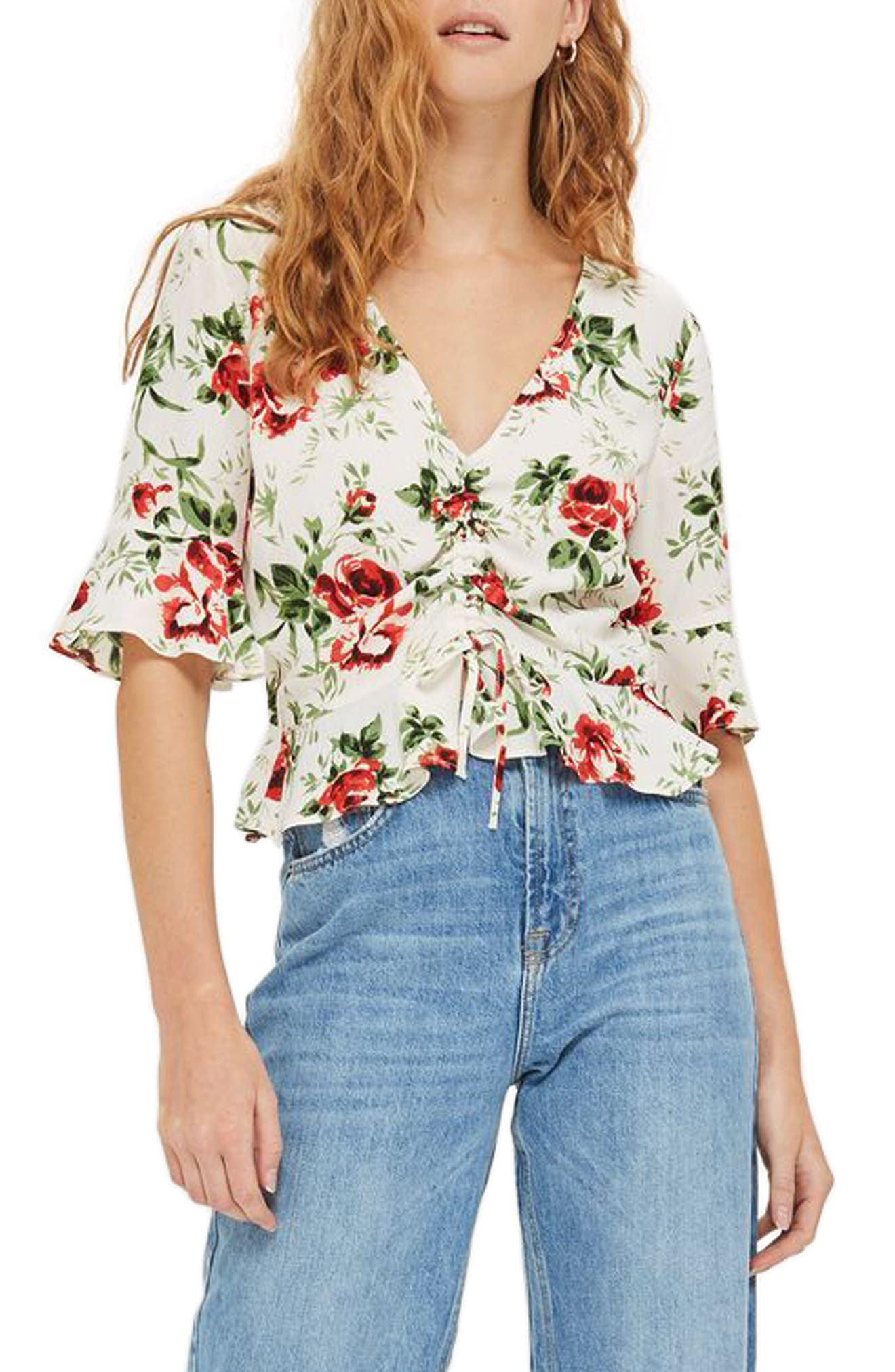 Main Image - Topshop Rose Ruched Front Top (Petite)