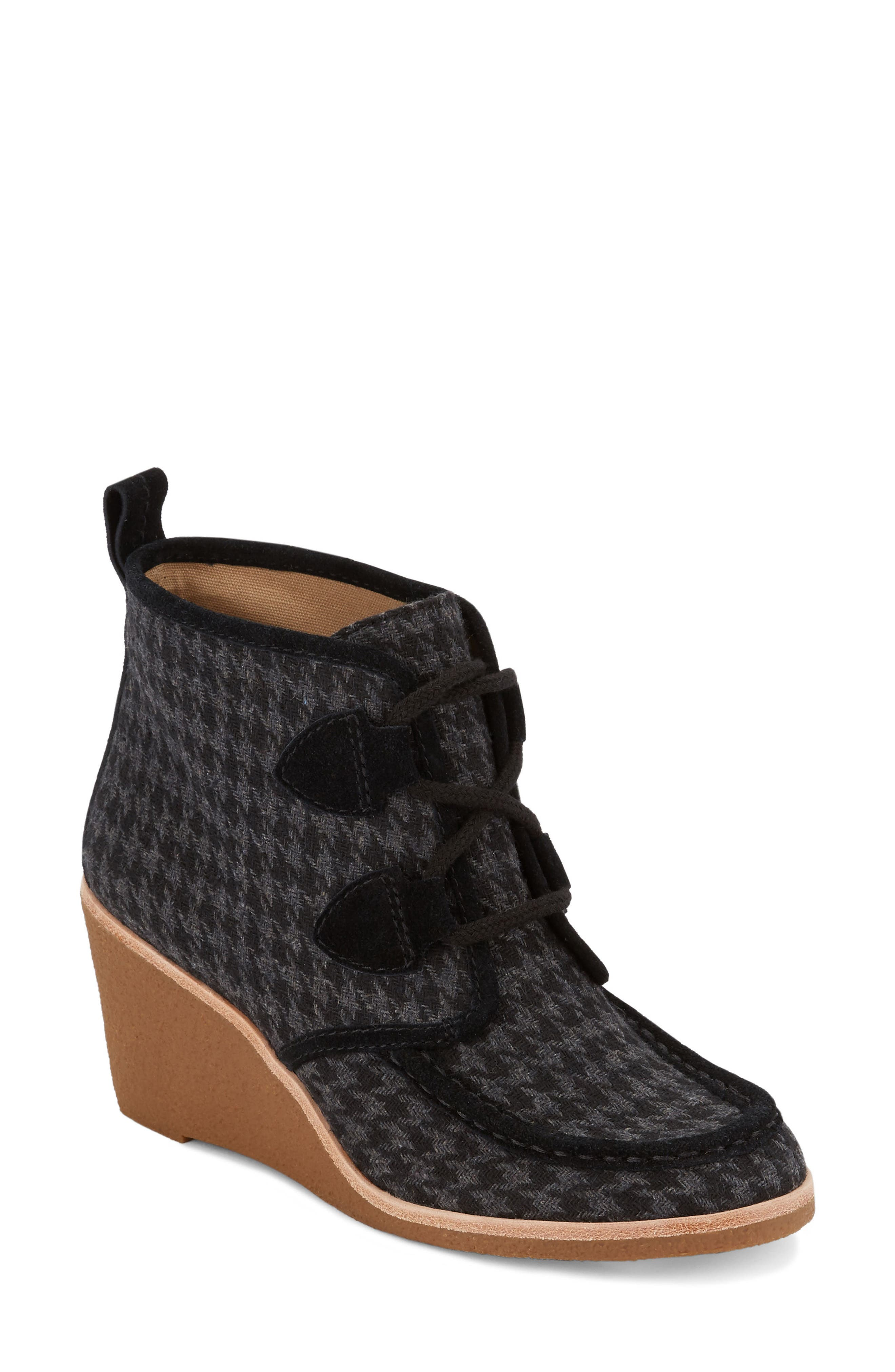 Rosa Wedge Bootie,                             Main thumbnail 1, color,                             Black Houndstooth Fabric