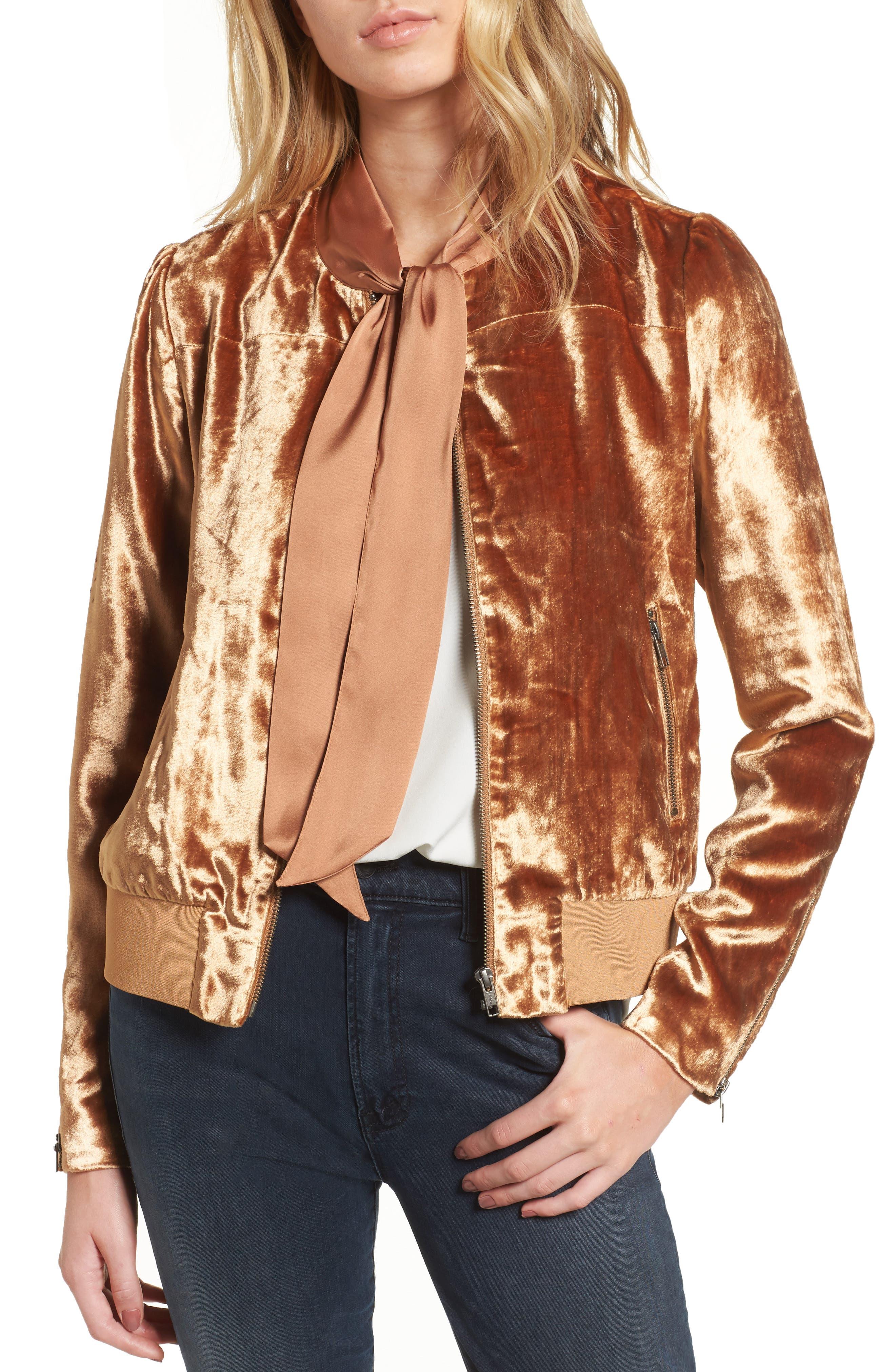 Velvet Jacket,                         Main,                         color, Rust Carmel