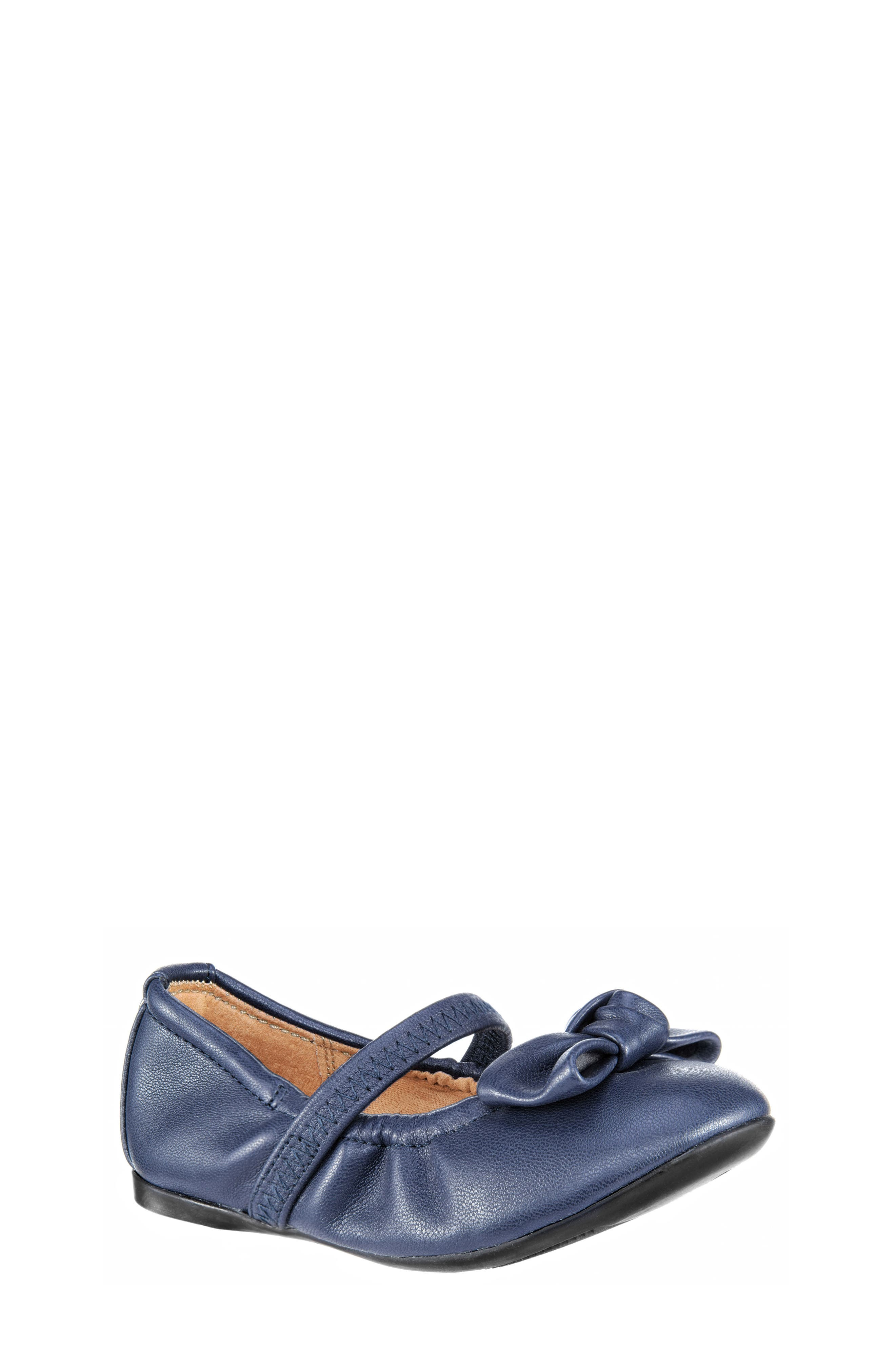 Karla Bow Ballet Flat,                             Main thumbnail 1, color,                             Navy Smooth Blue