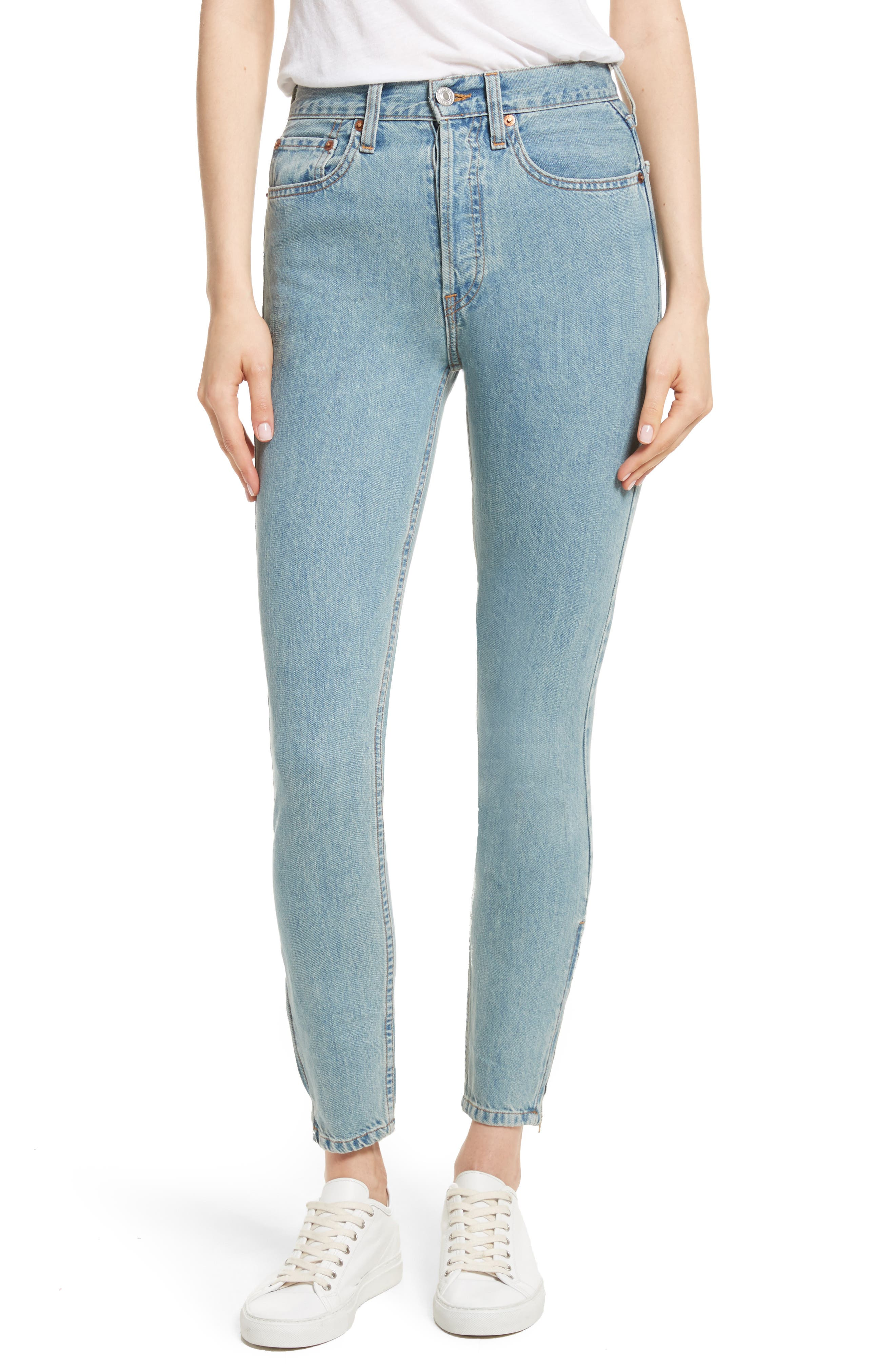Re/Done Originals High Waist Ankle Zip Jeans