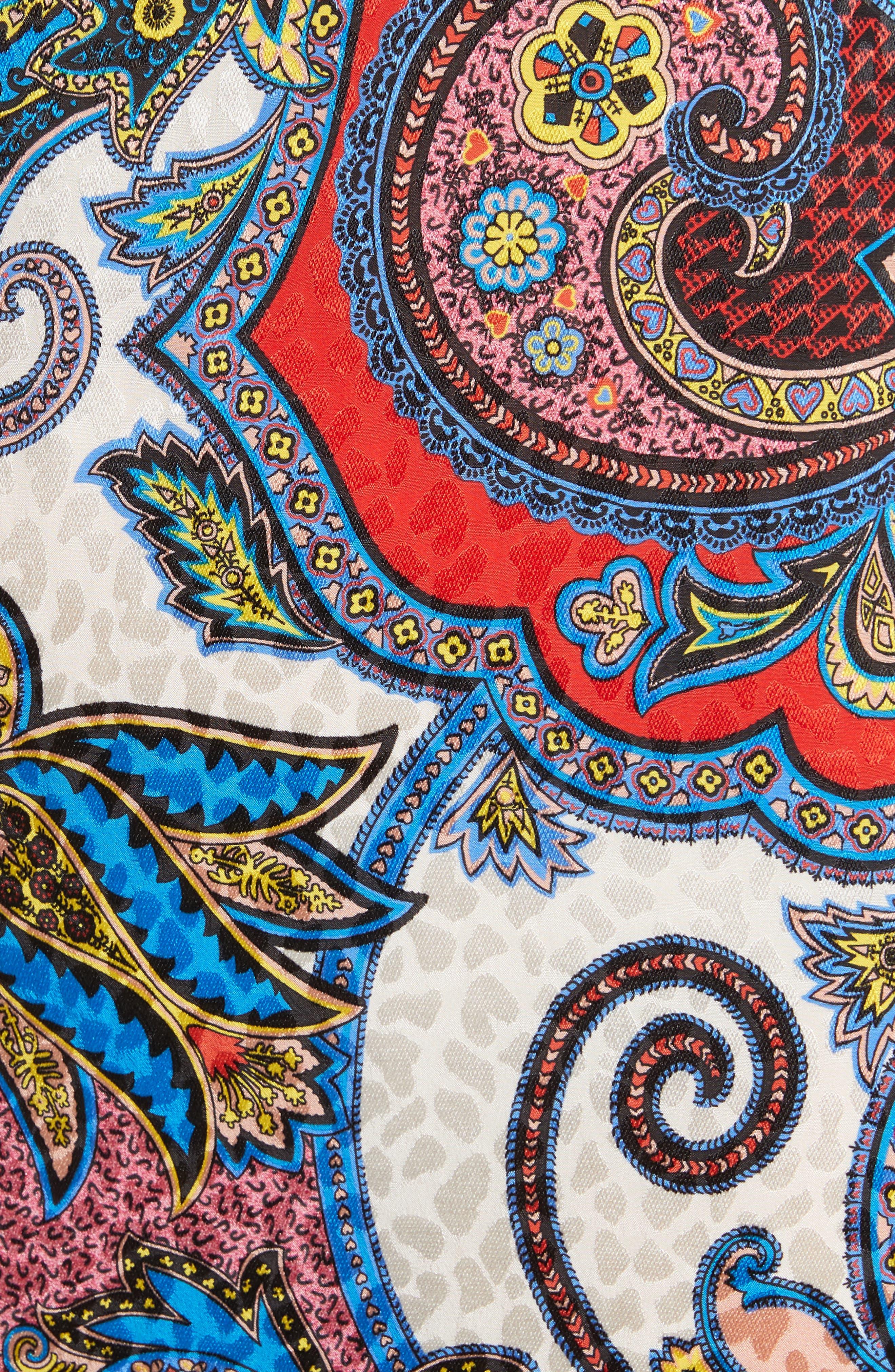 Paisley Print Silk Flutter Sleeve Dress,                             Alternate thumbnail 6, color,                             Multi