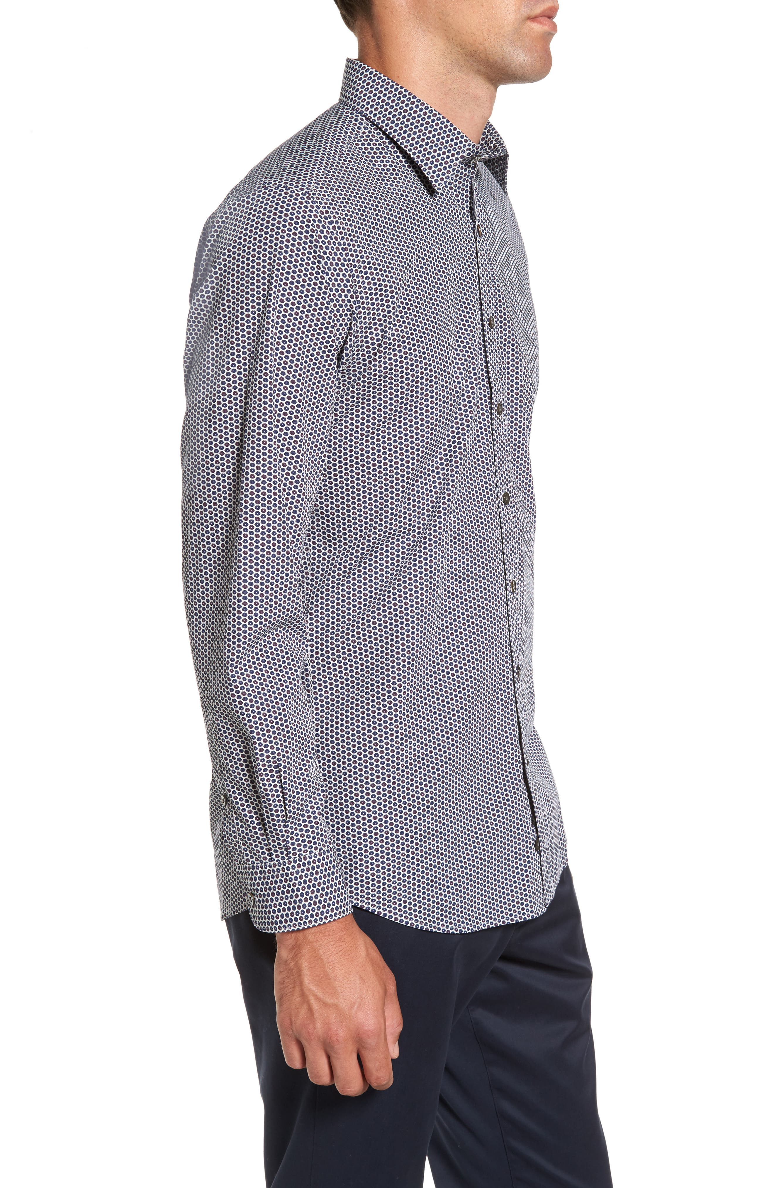 Flax Island Regular Fit Floral Sport Shirt,                             Alternate thumbnail 3, color,                             Ash