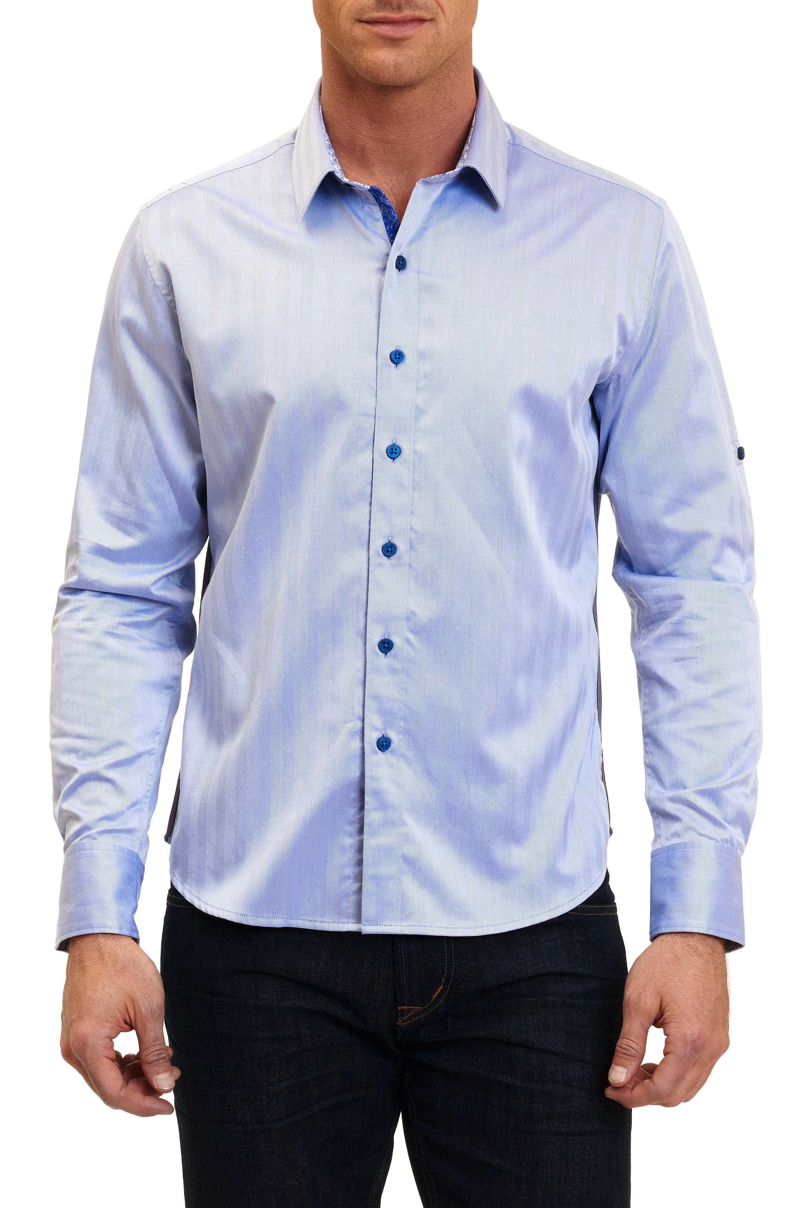 Canton Classic Fit Herringbone Sport Shirt,                         Main,                         color, Cobalt