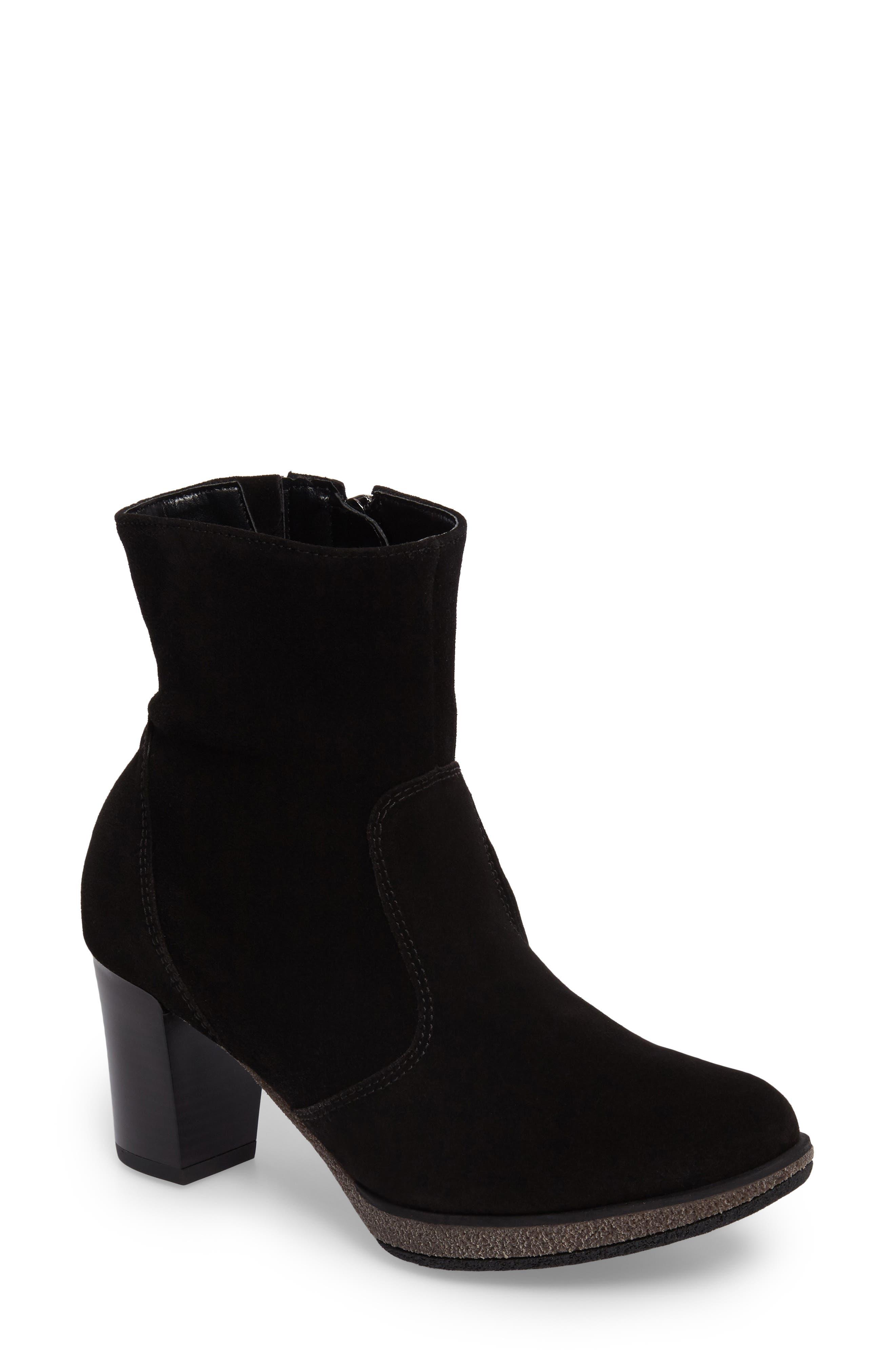Bristol Bootie,                             Main thumbnail 1, color,                             Black Leather