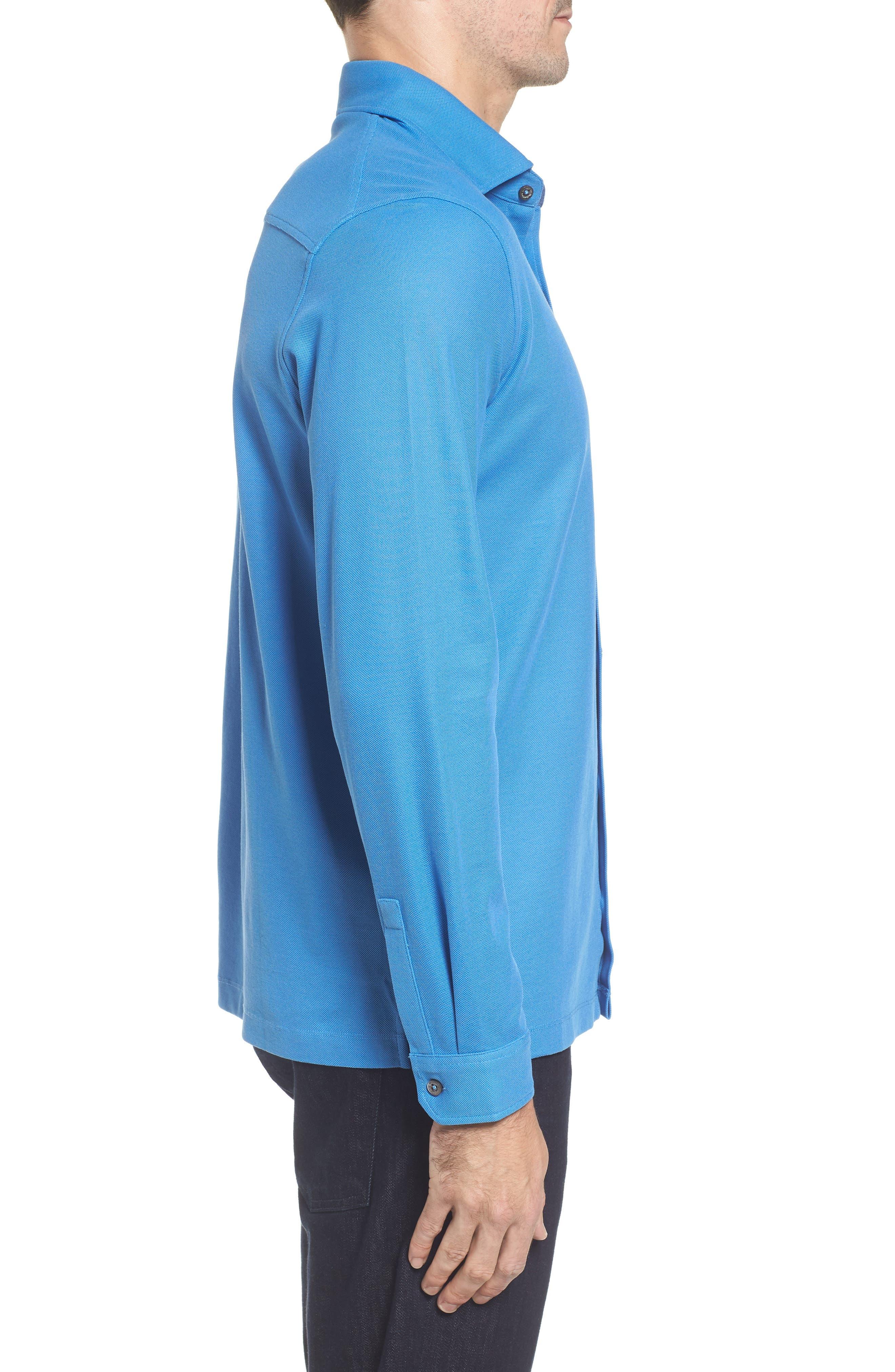 Classic Fit Piqué Knit Shirt,                             Alternate thumbnail 3, color,                             Classic Blue