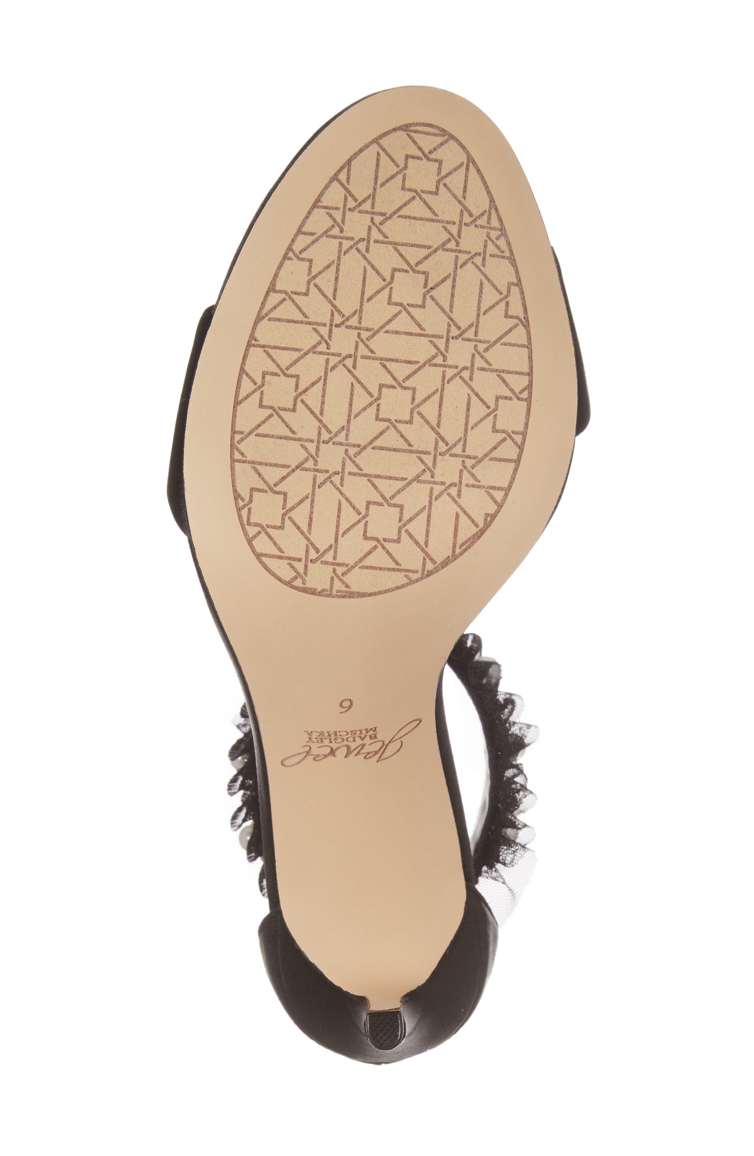 Abagail Embellished Ankle Strap Sandal,                             Alternate thumbnail 6, color,                             Black Satin