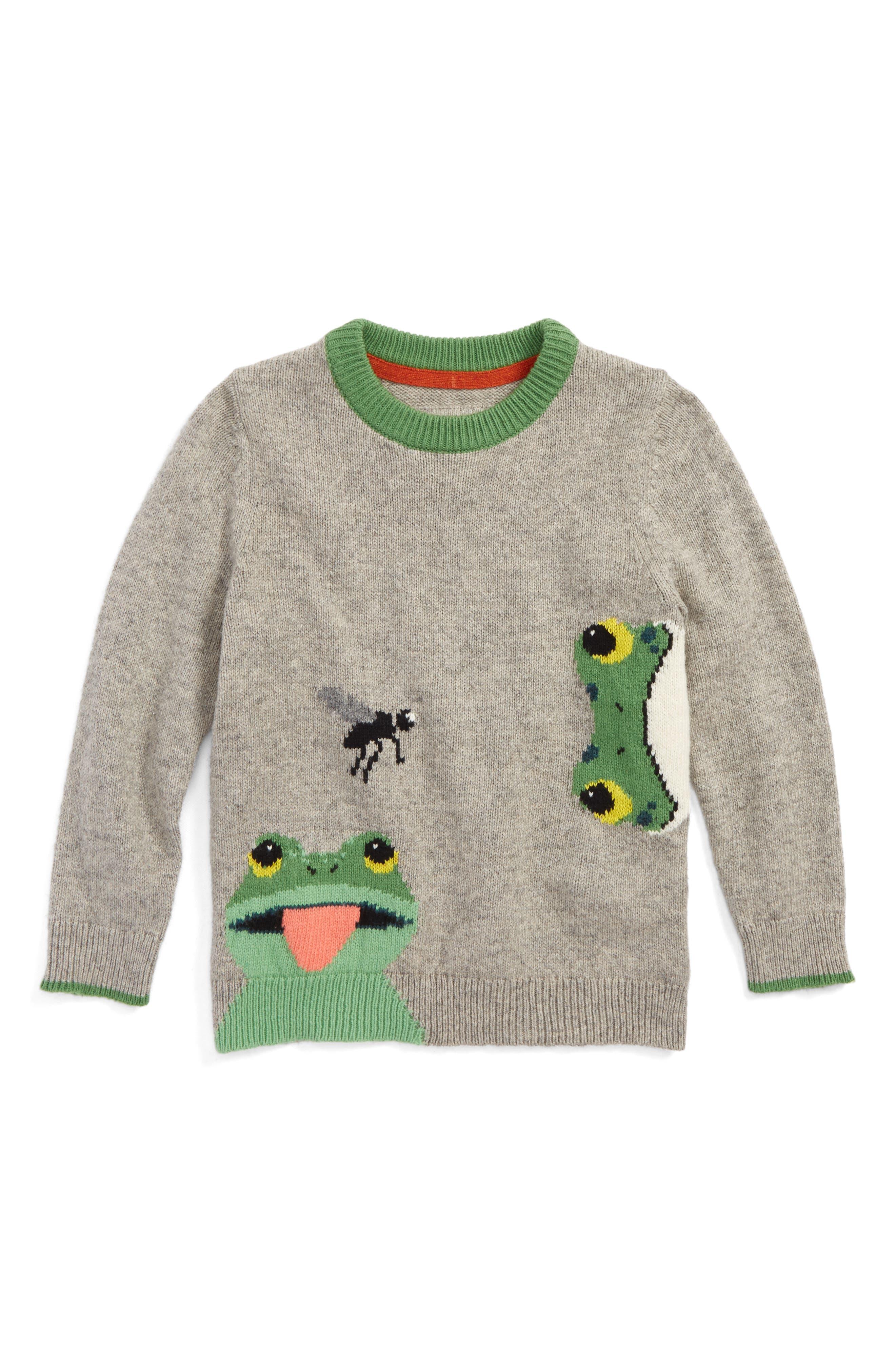 Wild Adventure Intarsia Sweater,                         Main,                         color, Grey Marl Frog