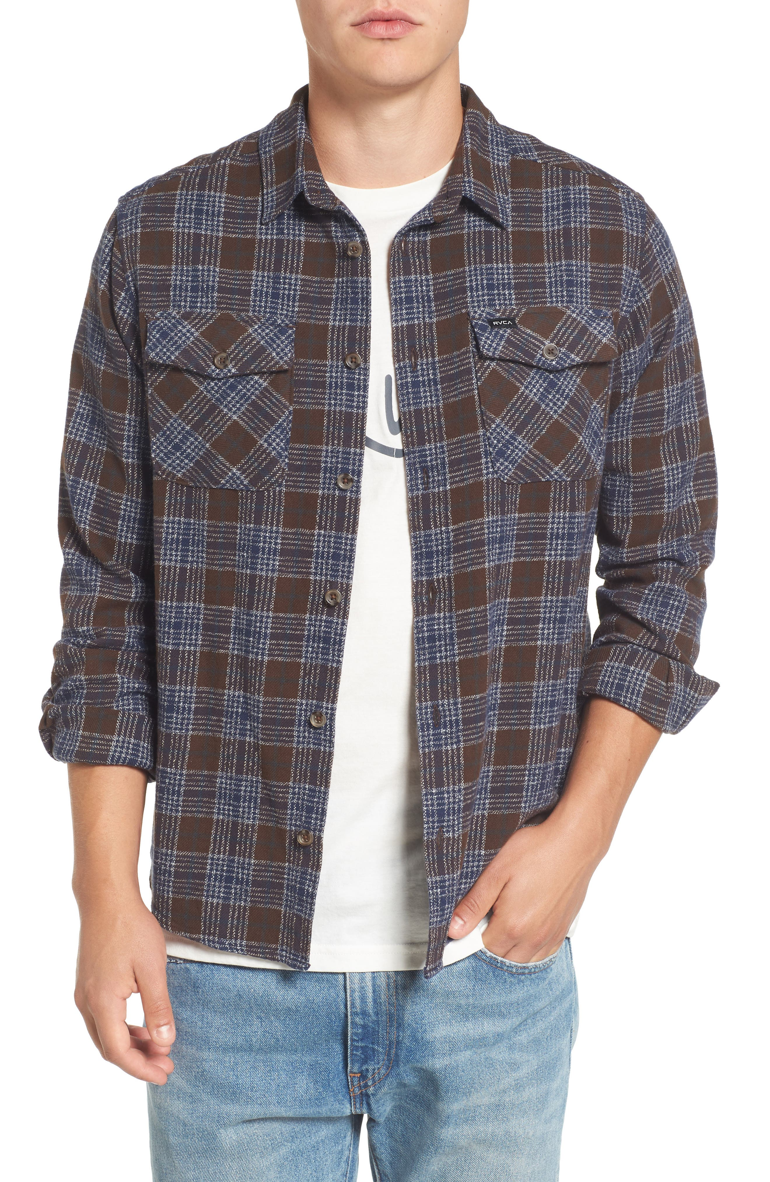 'That'll Work' Trim Fit Plaid Flannel Shirt,                             Main thumbnail 1, color,                             Dark Chocolate