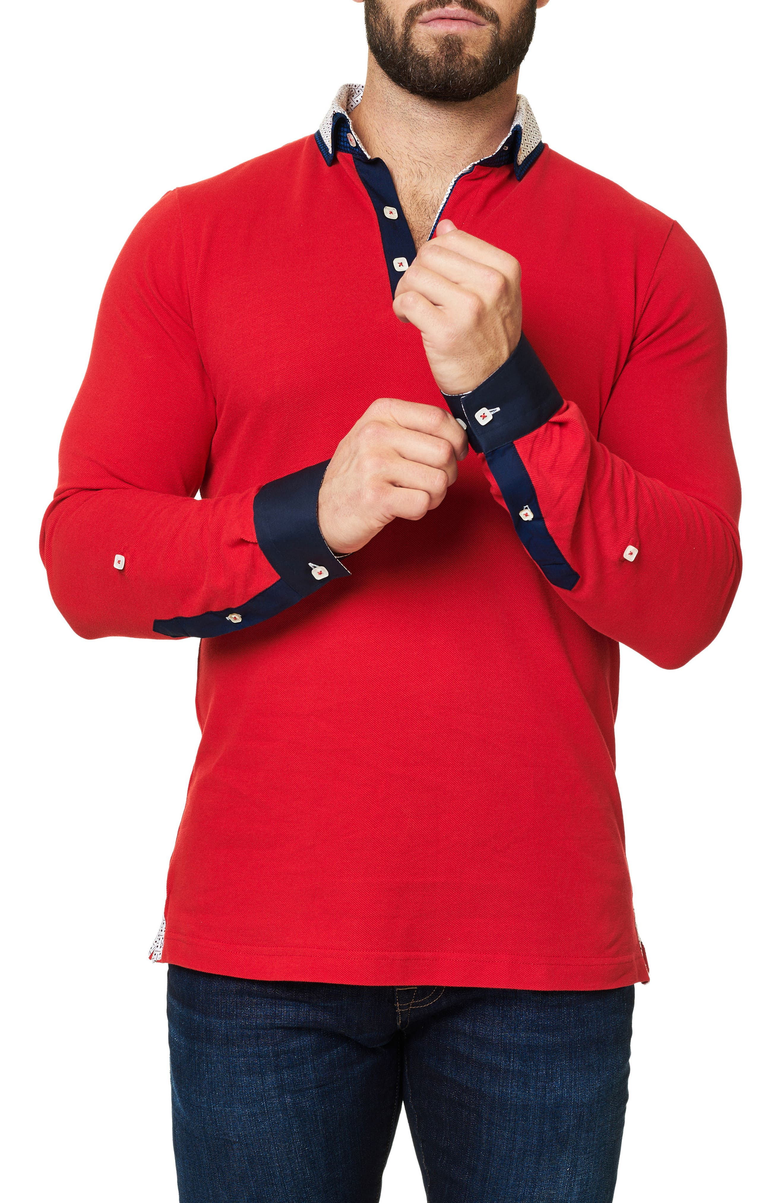 Long Sleeve Polo,                             Alternate thumbnail 3, color,                             Medium Red