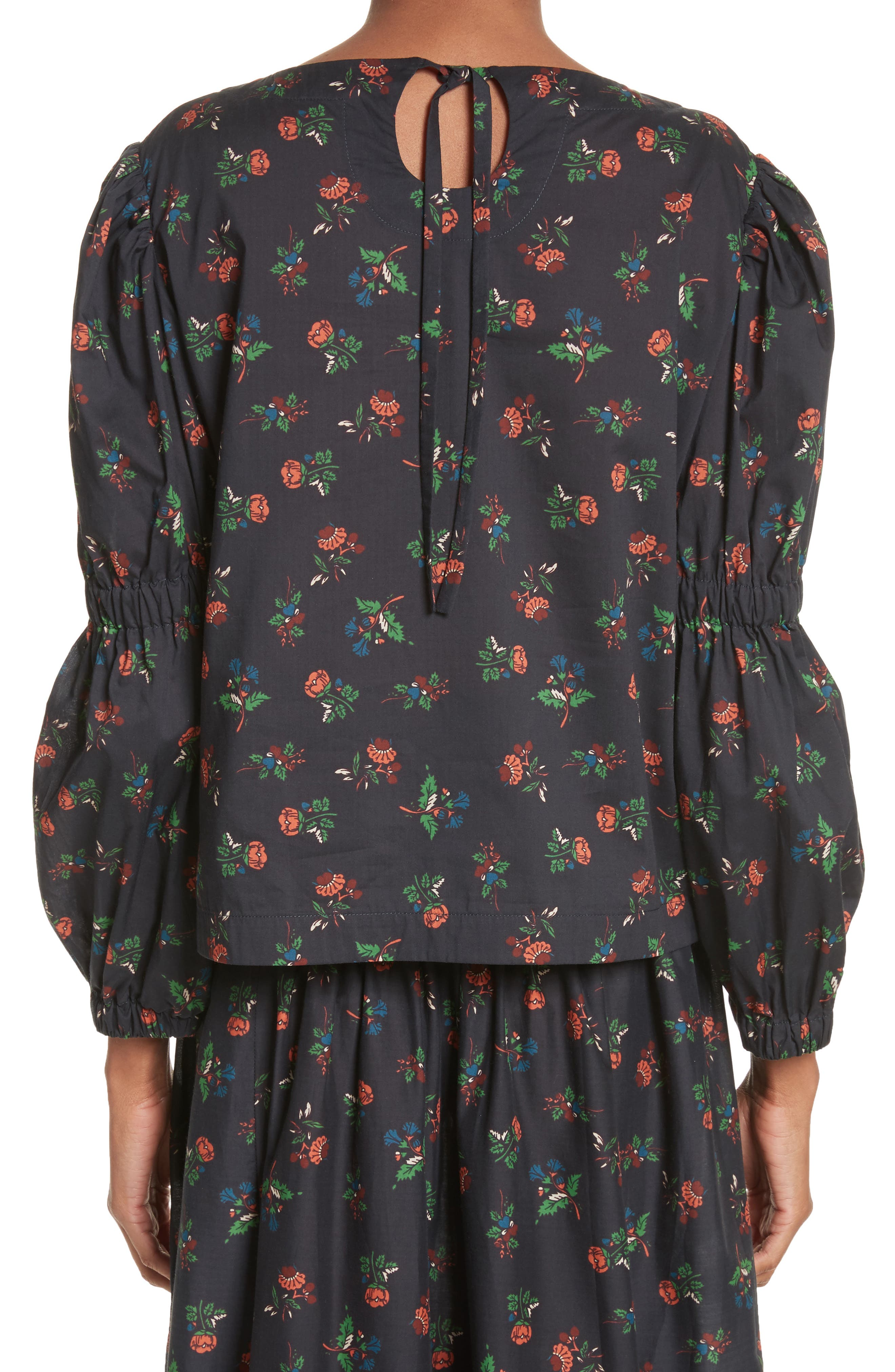 Floral Puff Sleeve Top,                             Alternate thumbnail 2, color,                             Black