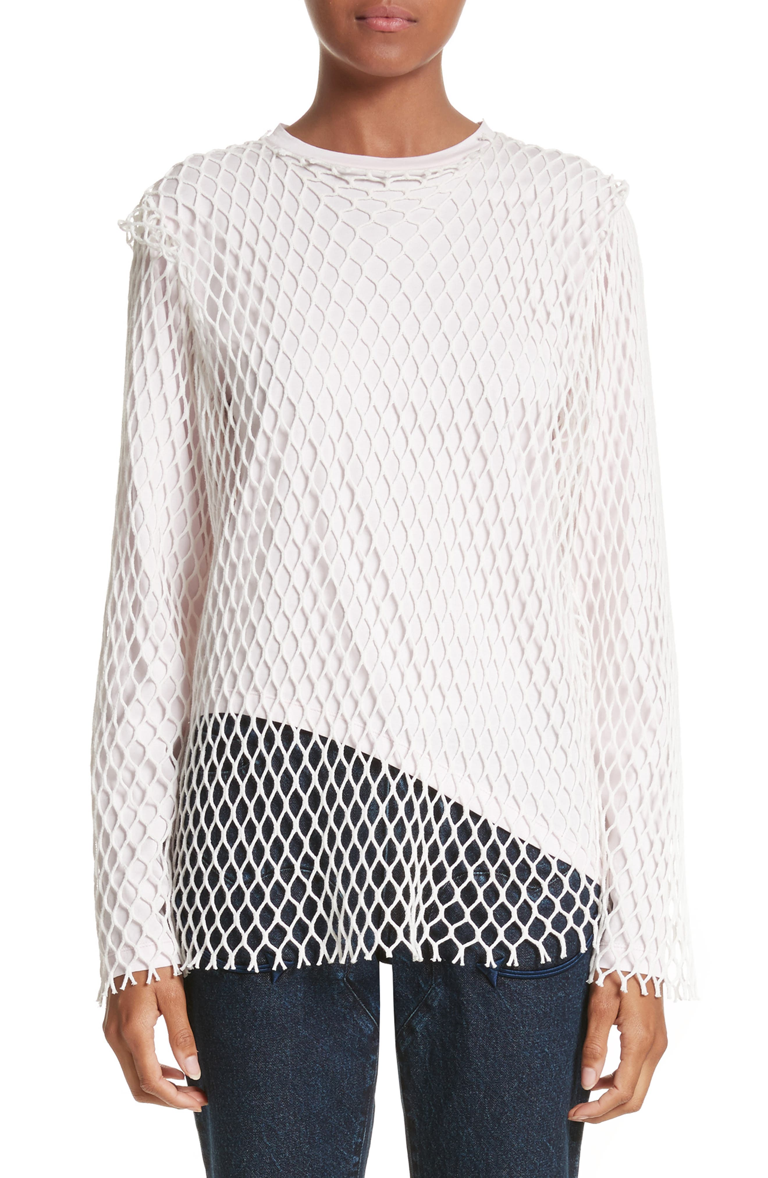 Marques'Almeida Net Jersey Top,                             Main thumbnail 1, color,                             Pale Pink
