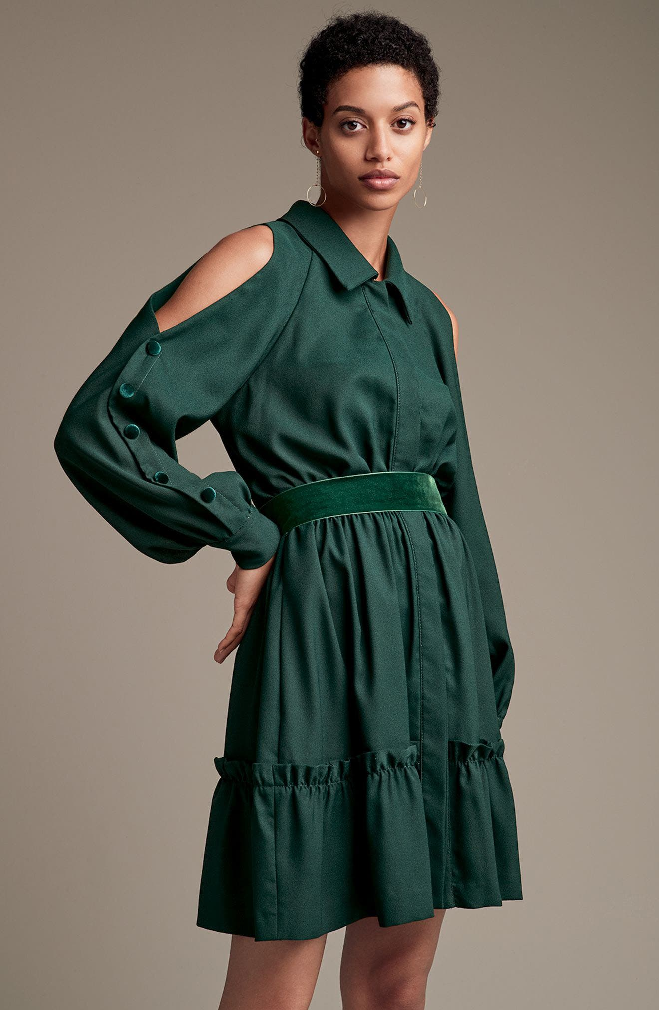 Alternate Image 8  - Eliza J Cold Shoulder Shirtdress (Plus Size)
