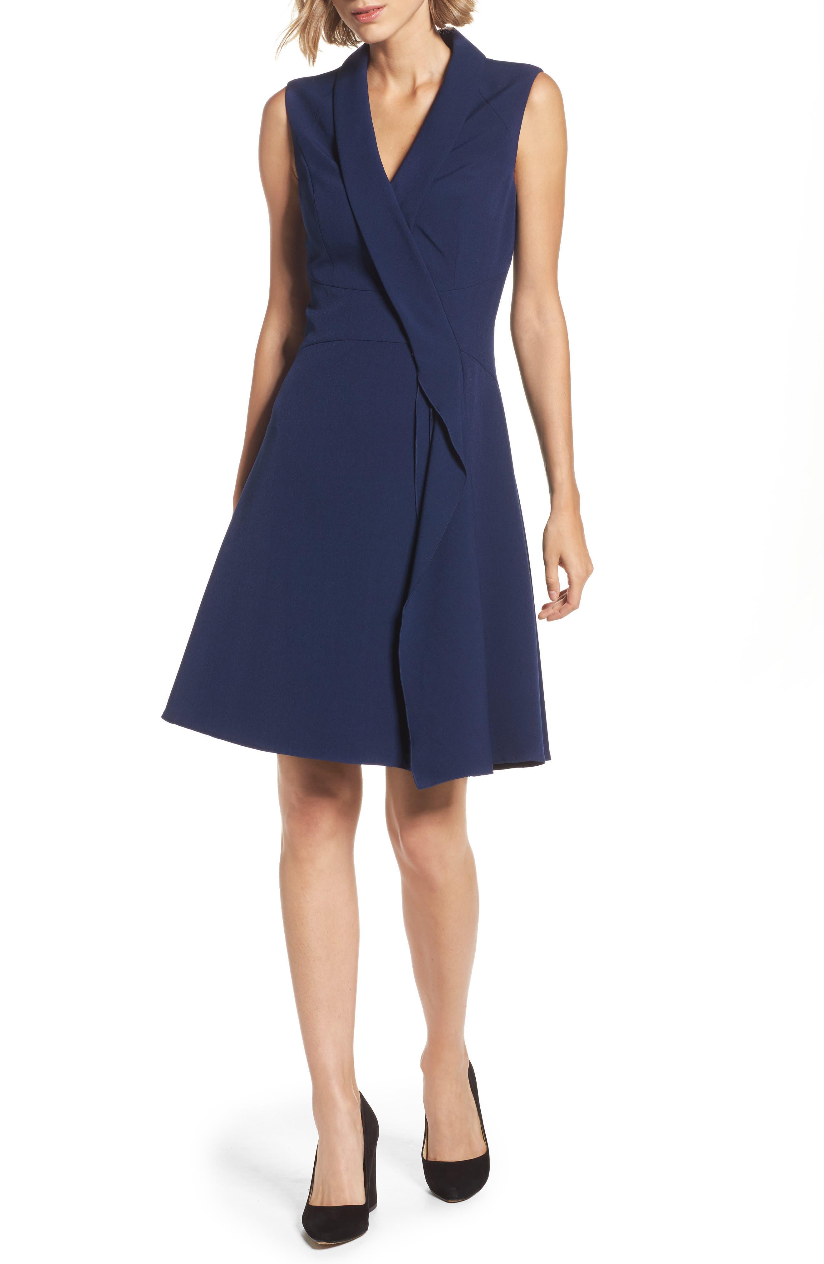 Adrianna Papell Stretch Crepe A-Line Dress
