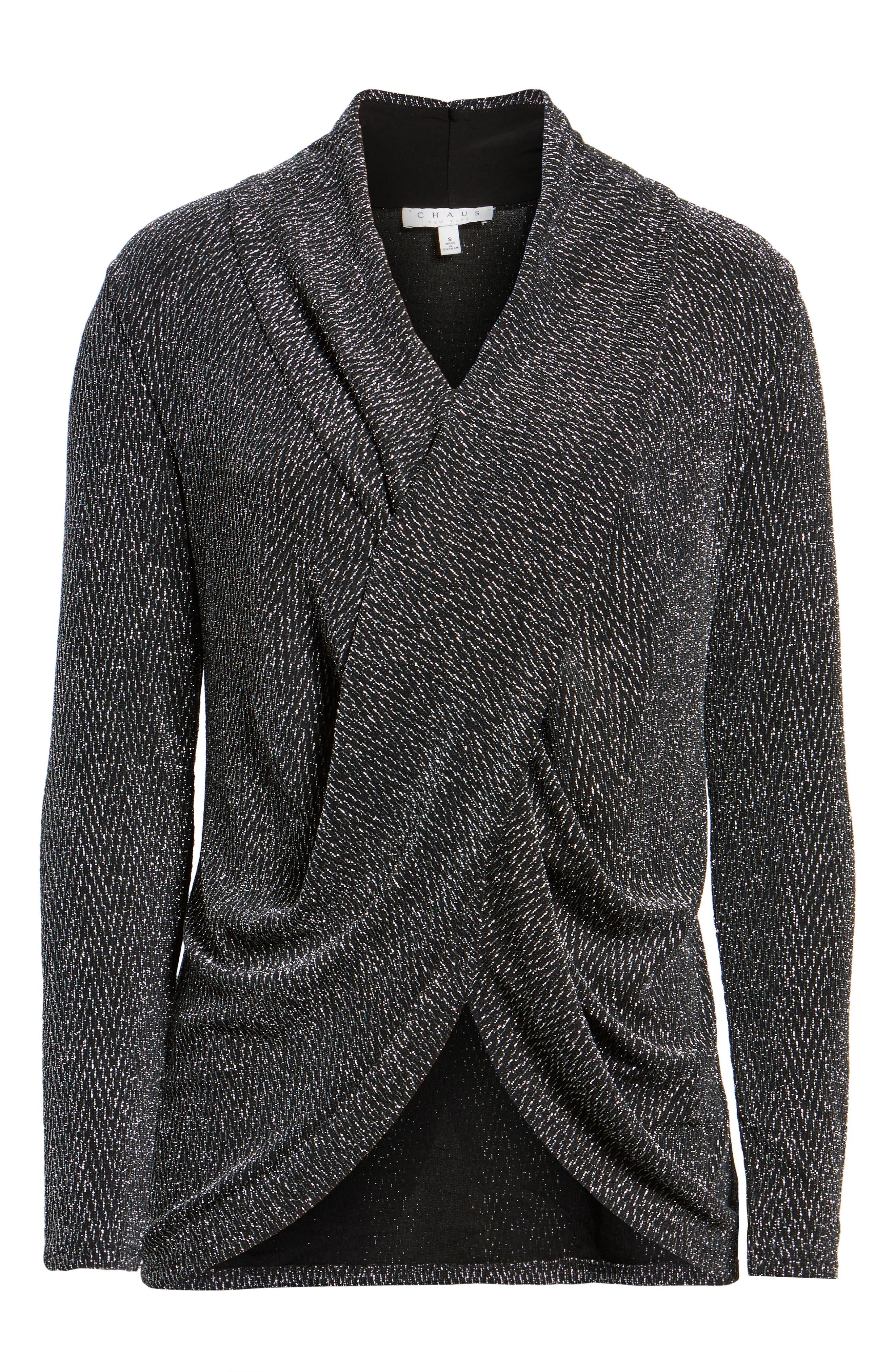 Alternate Image 6  - Chaus Long Drape Front Sparkle Knit Top