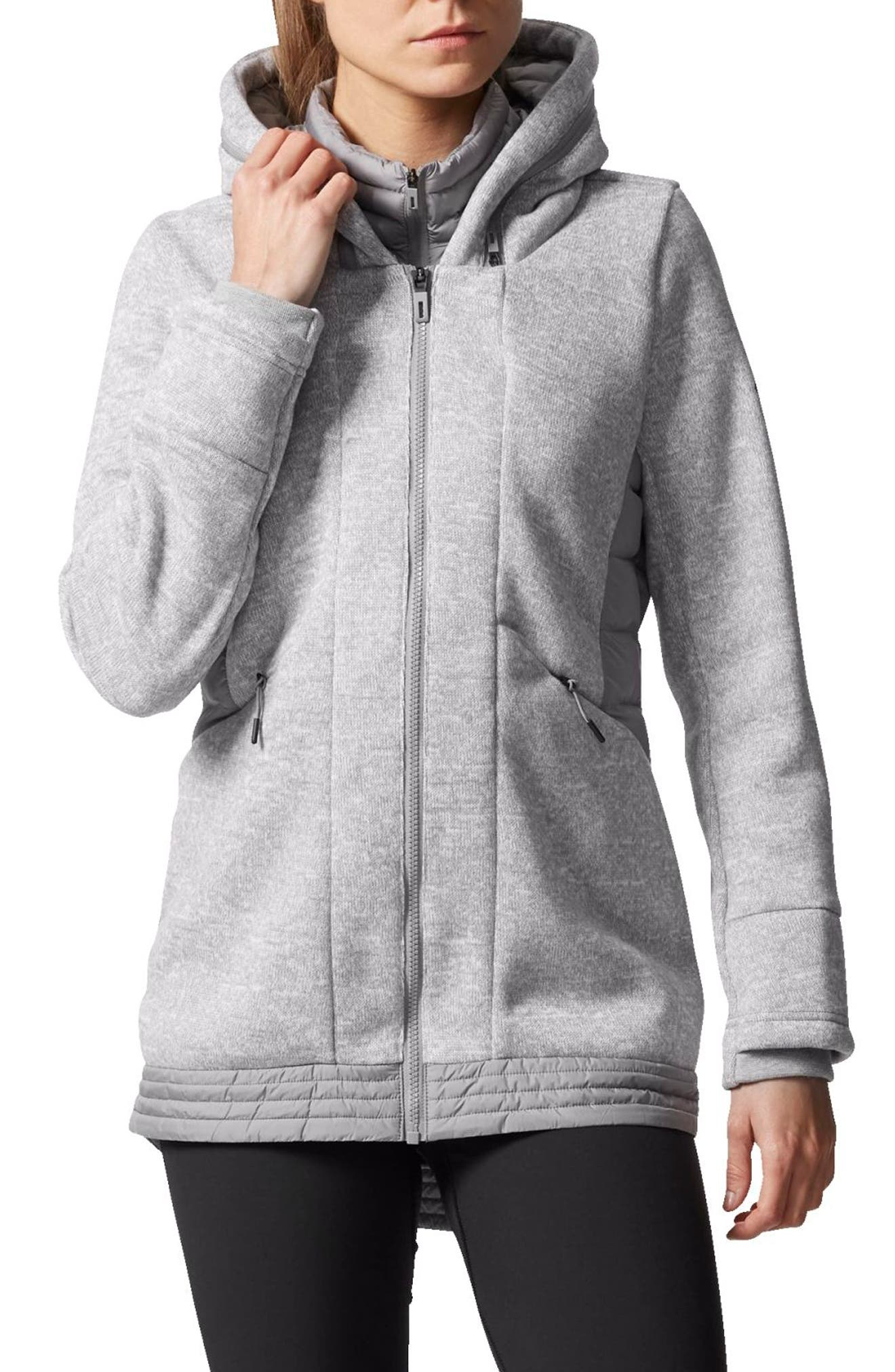 Nuvic Hybrid 2 Fleece/Puffer Jacket,                             Main thumbnail 1, color,                             Medium Grey Heather/Solid Grey