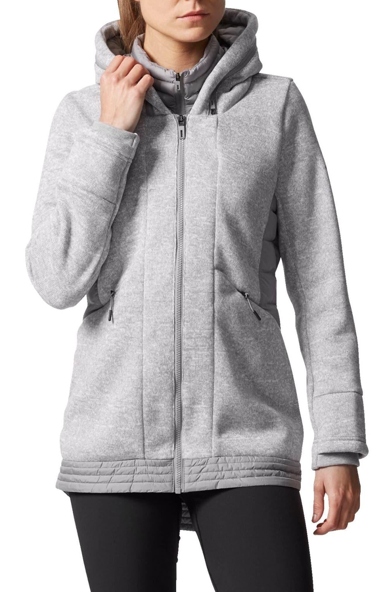 Nuvic Hybrid 2 Fleece/Puffer Jacket,                         Main,                         color, Medium Grey Heather/Solid Grey