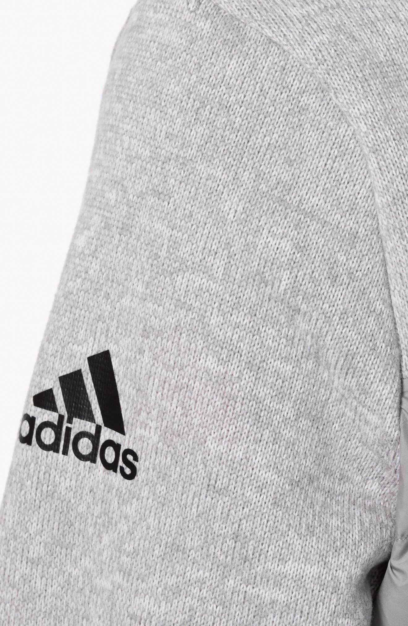 Nuvic Hybrid 2 Fleece/Puffer Jacket,                             Alternate thumbnail 6, color,                             Medium Grey Heather/Solid Grey