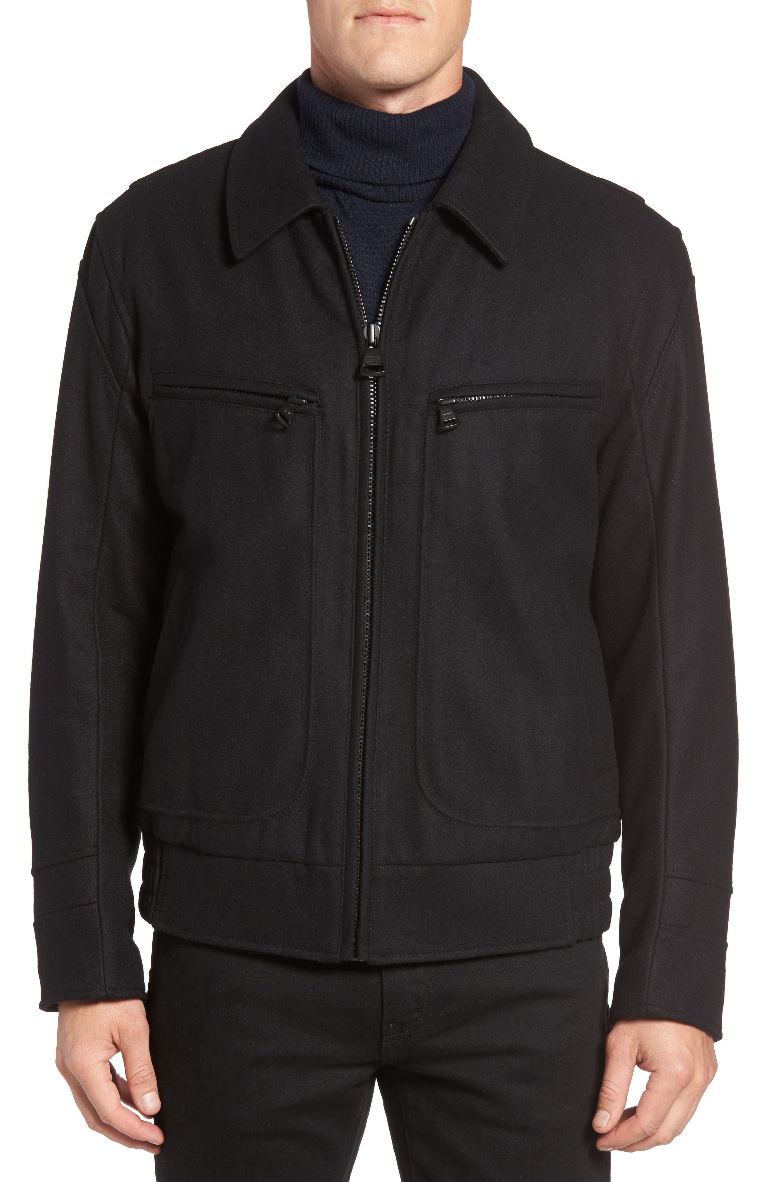 Concord Faux Shearling Aviator Jacket,                             Alternate thumbnail 4, color,                             Black