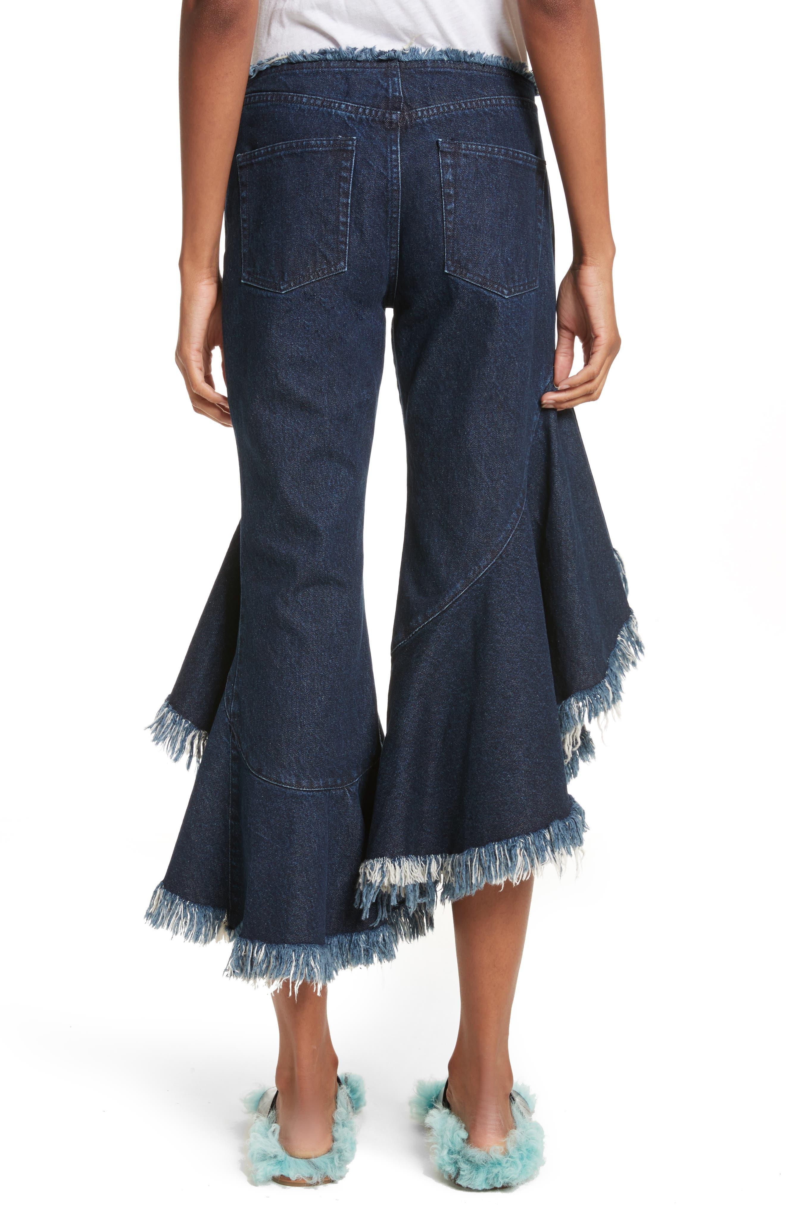 Marques'Almeida Frill Flare Crop Jeans,                             Alternate thumbnail 3, color,                             Indigo