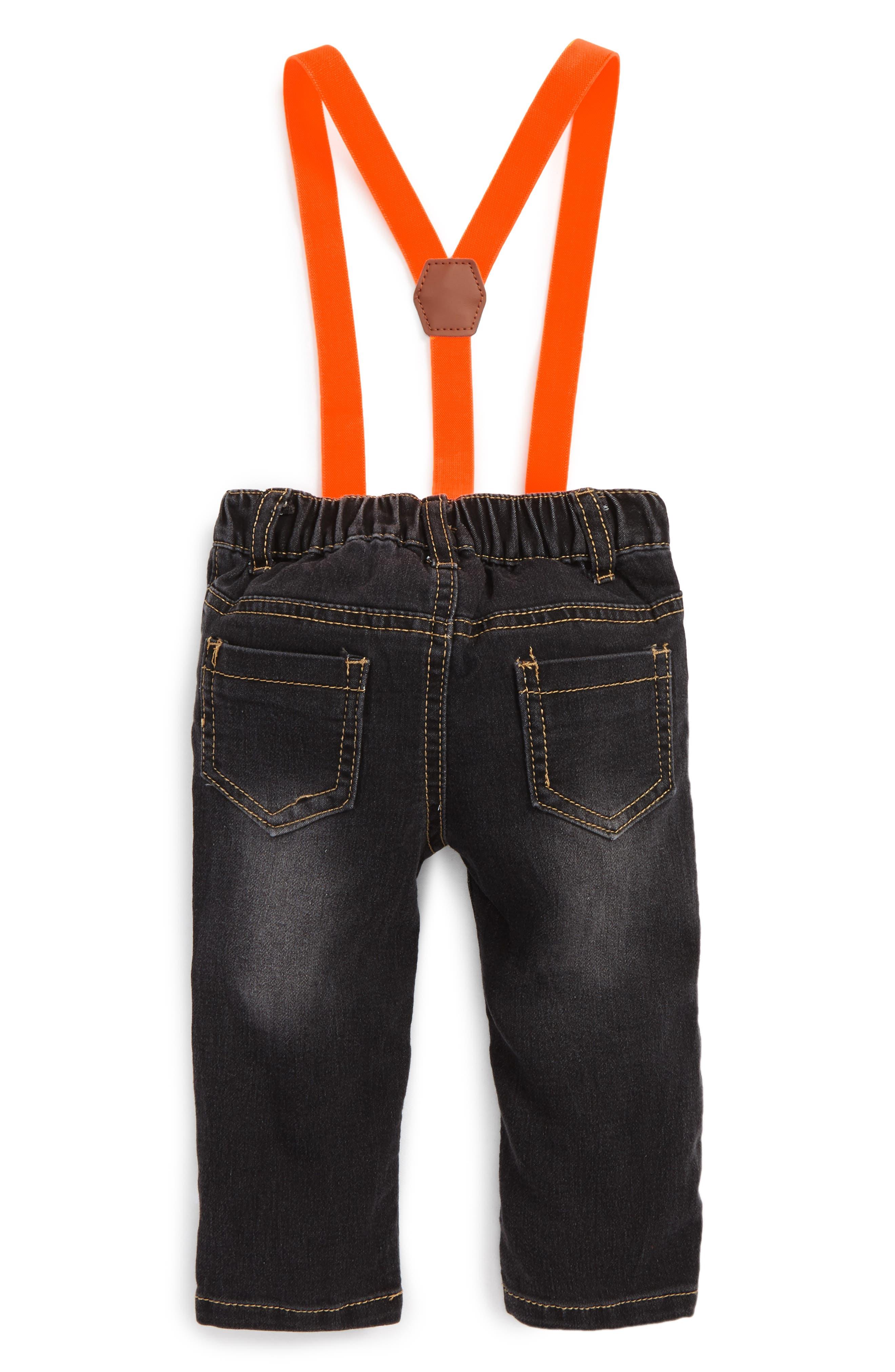 Alternate Image 2  - Rosie Pope Appliqué Suspender Denim Pants (Baby Boys)
