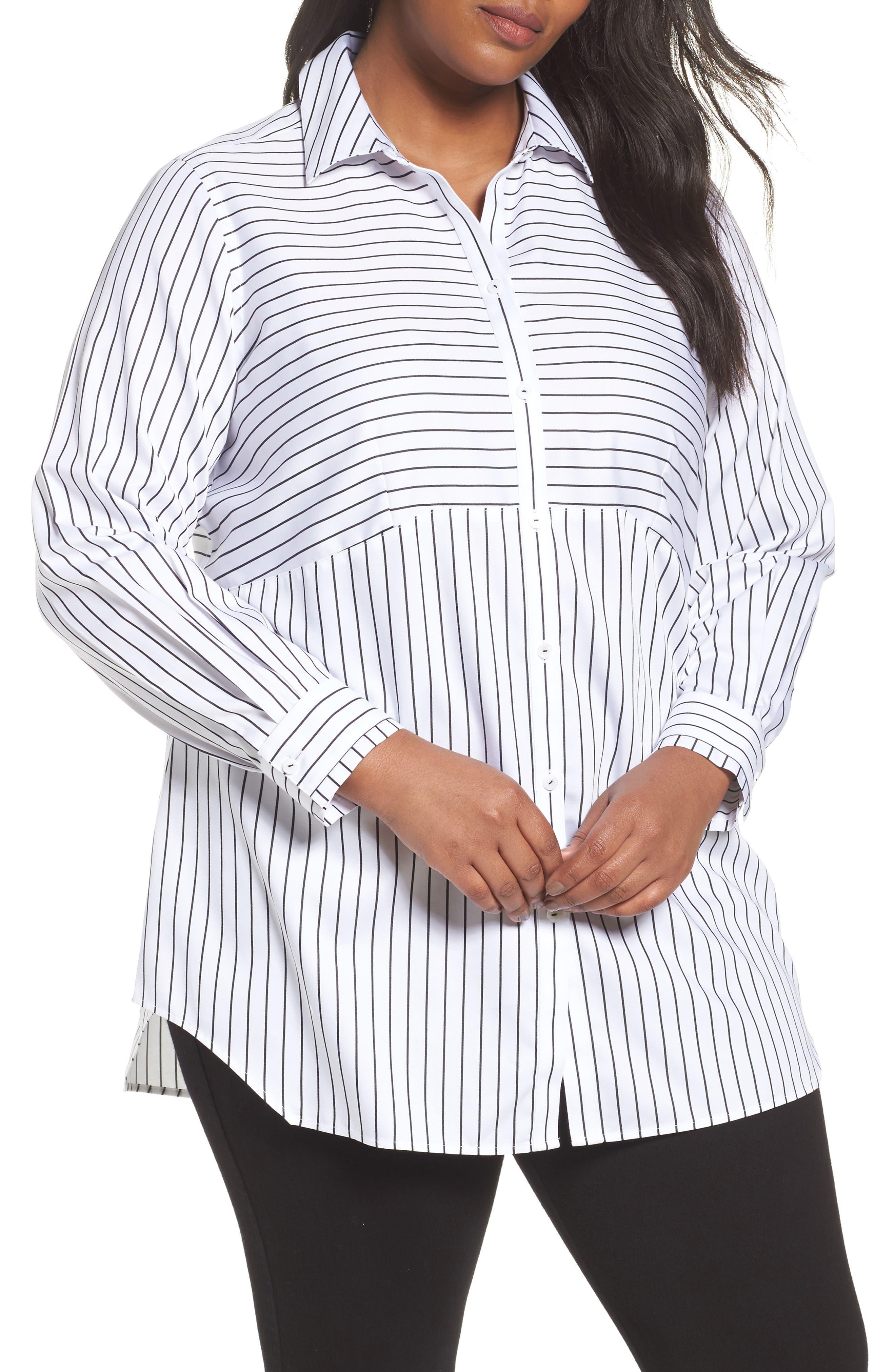 Main Image - Foxcroft Gina Holiday Stripe Shirt (Plus Size)