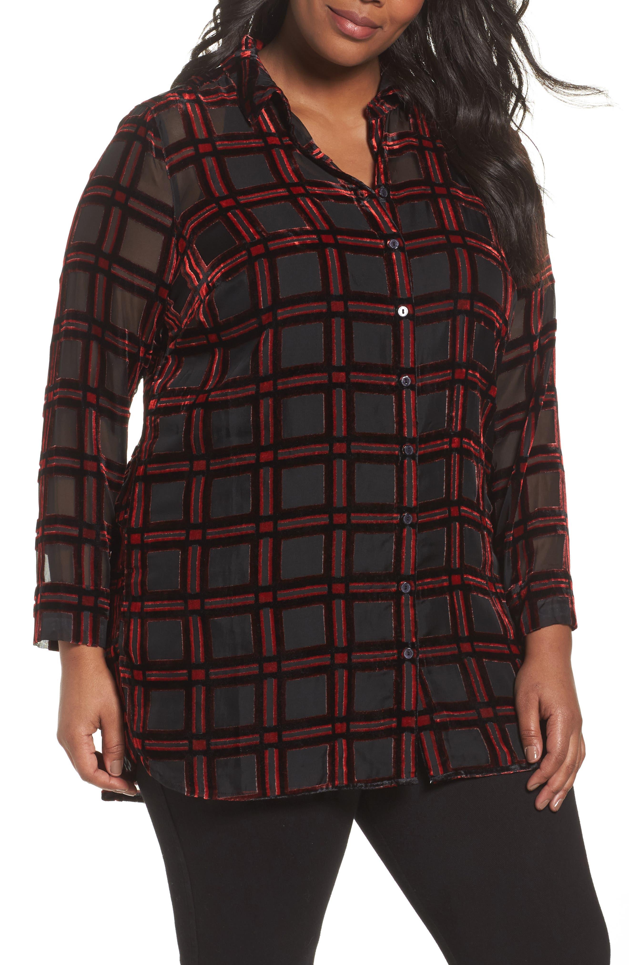 Alternate Image 1 Selected - Foxcroft Jade Burnout Tartan Shirt (Plus Size)